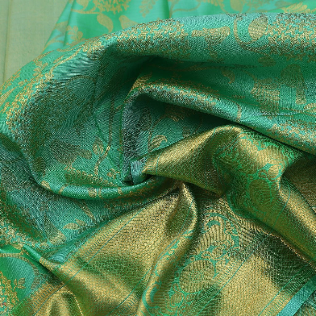 Vivid Green Kanjivaram Silk Handloom Saree With Floral Jaal