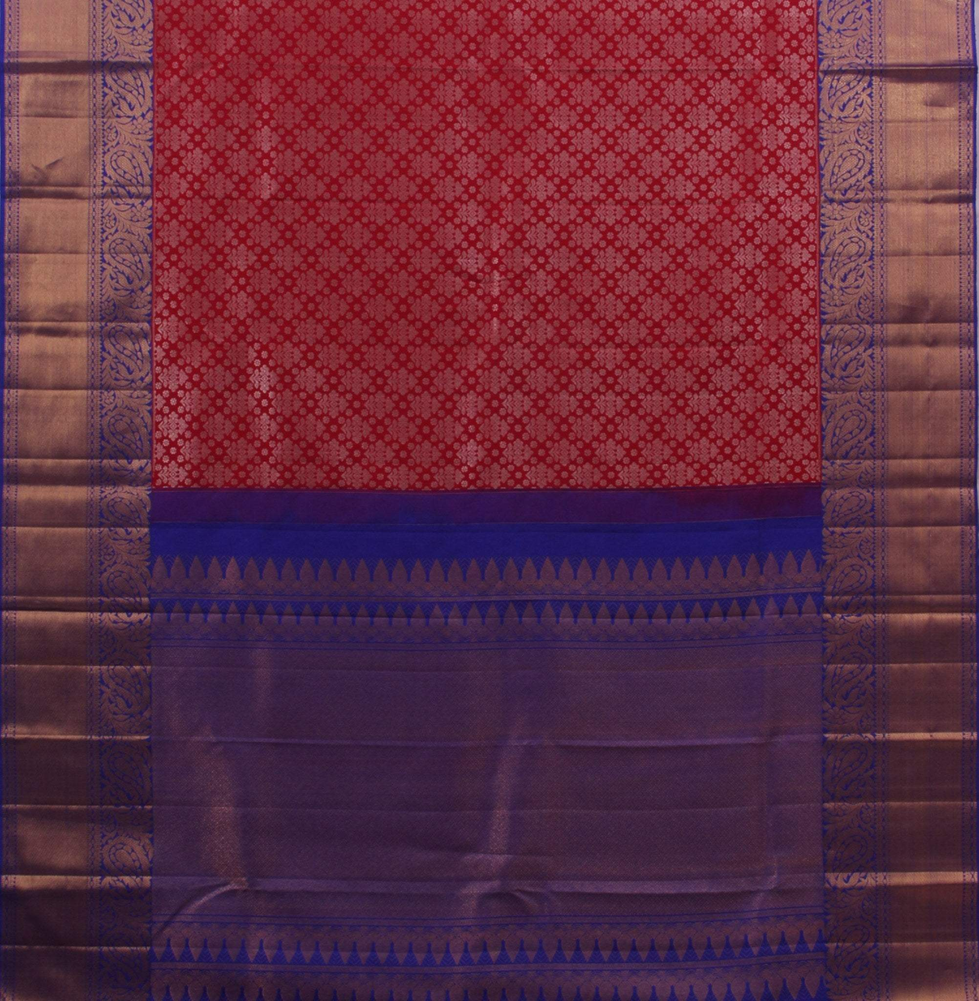 BB095820-Crimson Red Handloom Korvai Kanjivaram Silk Saree