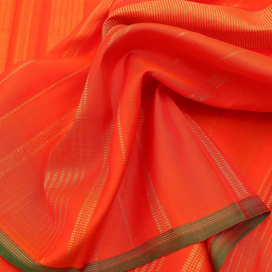 BB095885-Bright Orange and Bright Pink Kanjivaram Handloom Silk Saree