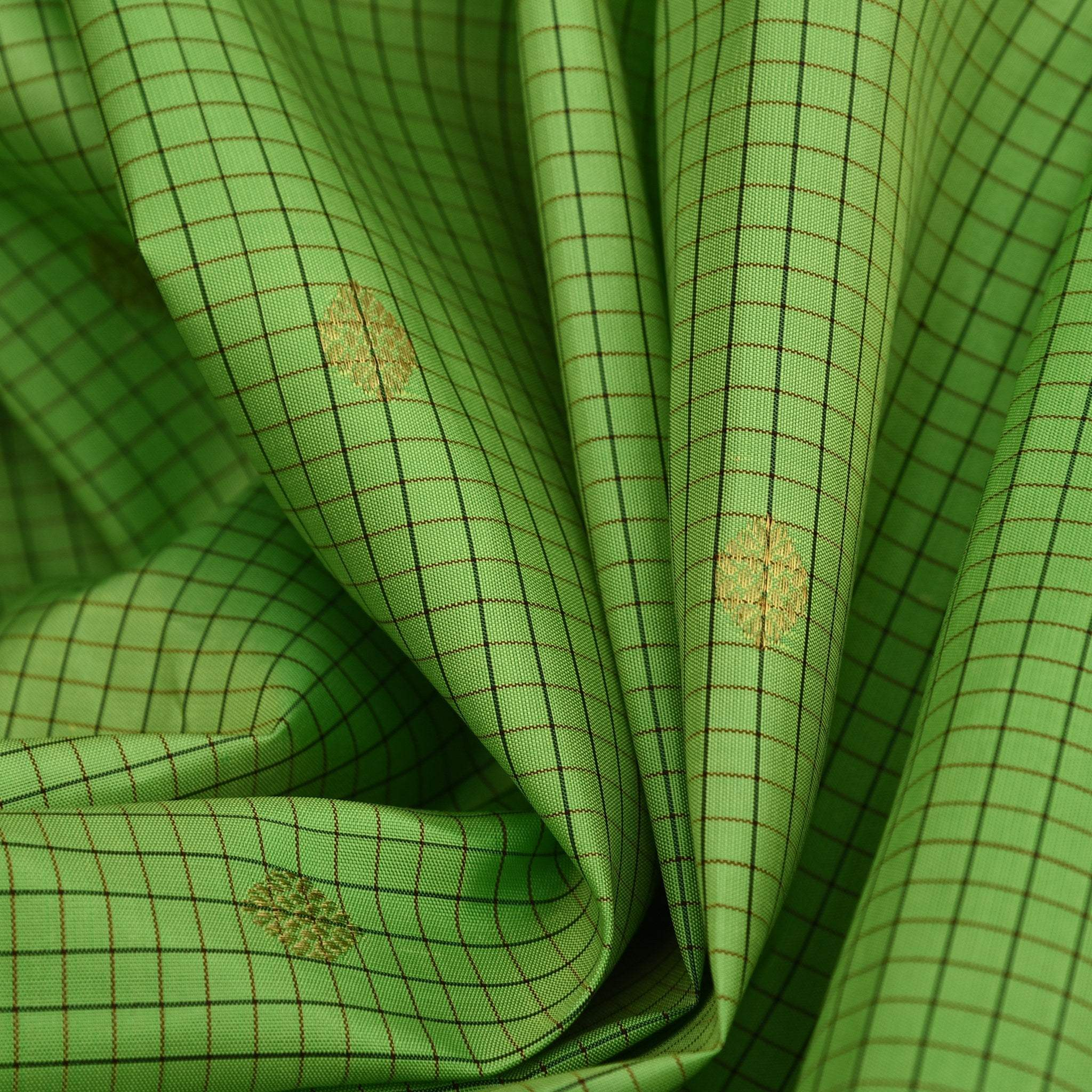 BB095895-Pear Green Handloom Kanjivaram Silk Checkered Saree