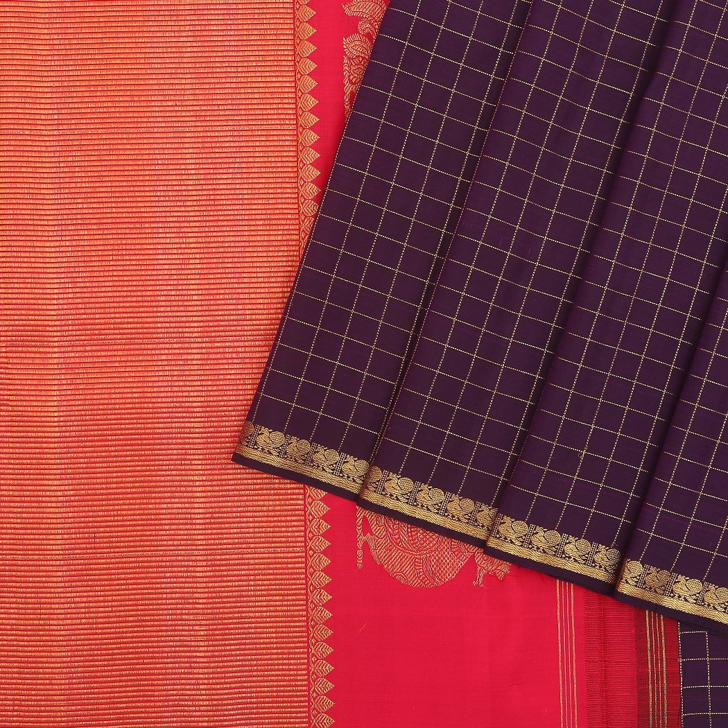 Eggplant-Purple-checkered-Handloom-Kanjivaram-Silk-Saree.