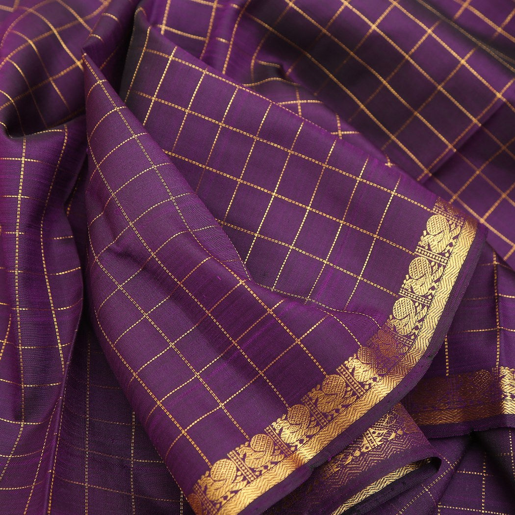 BB095934-Eggplant Purple checkered Handloom Kanjivaram Silk Saree