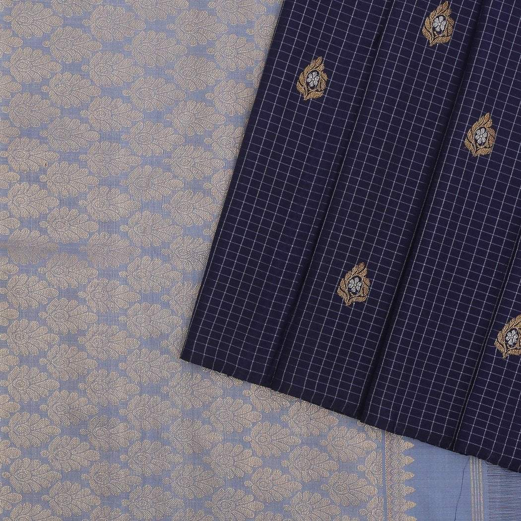 Mid-night-Blue-checkered-Handloom-Kanjivaram-Silk-Saree