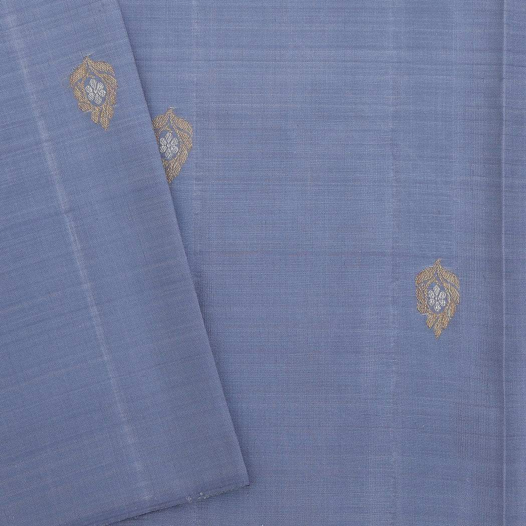 BB095951-Mid-night Blue checkered Handloom Kanjivaram Silk Saree