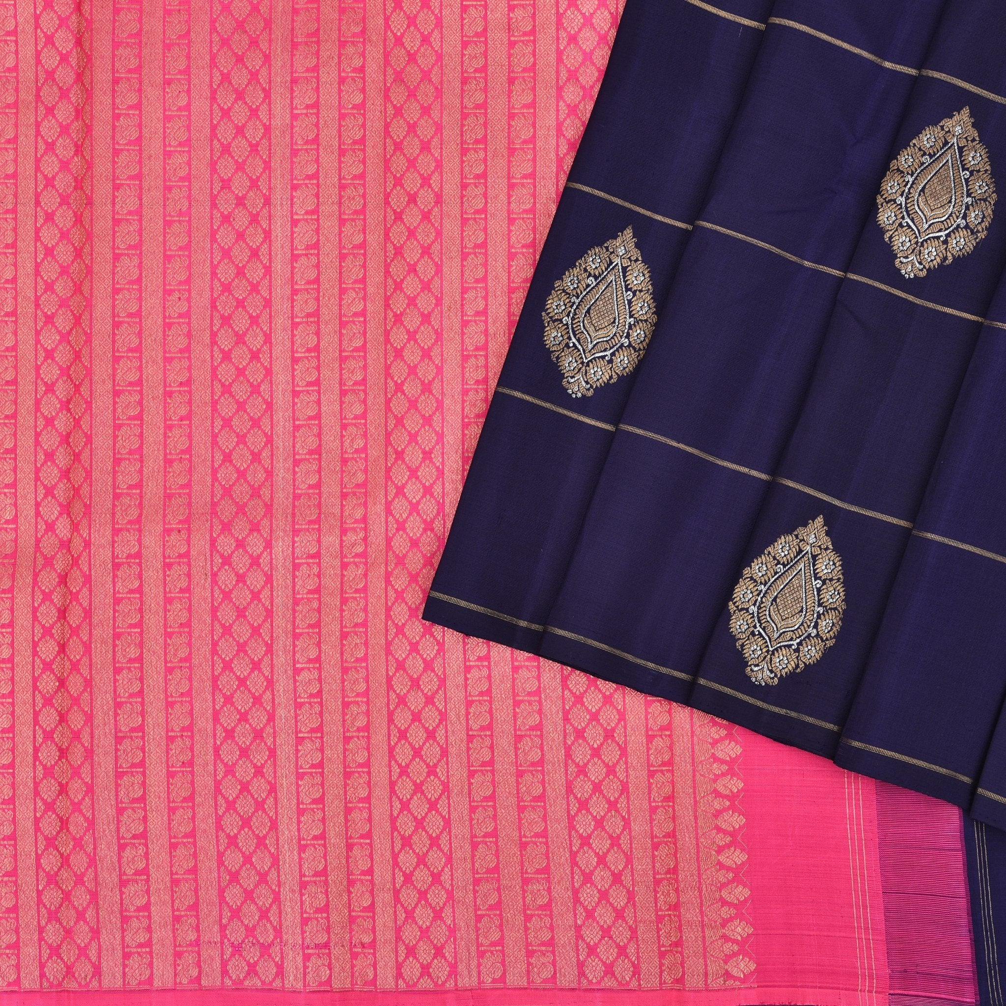 Midnight-Blue-Borderless-Kanjivaram-Handloom-Silk-Saree