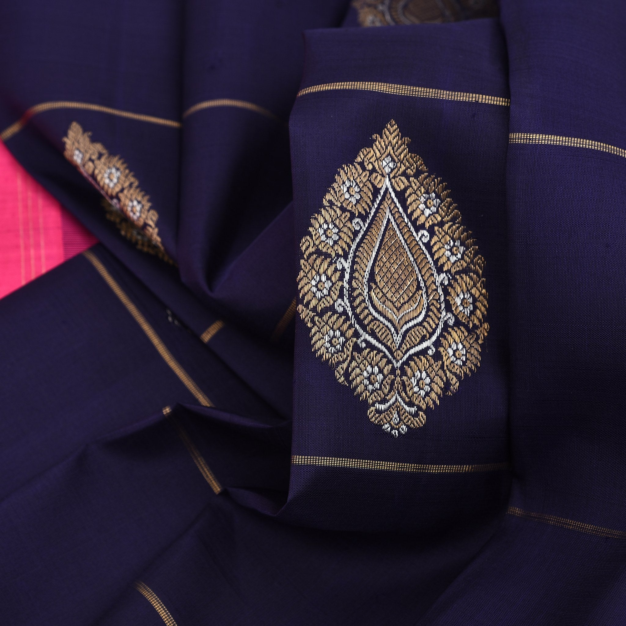 BB095953-Midnight Blue Borderless Kanjivaram Handloom Silk Saree
