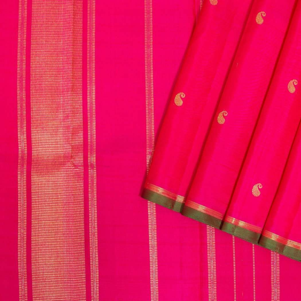 Hot-Pink-Kanjivaram-Silk-Handloom-Saree-With-Paisley-Motifs
