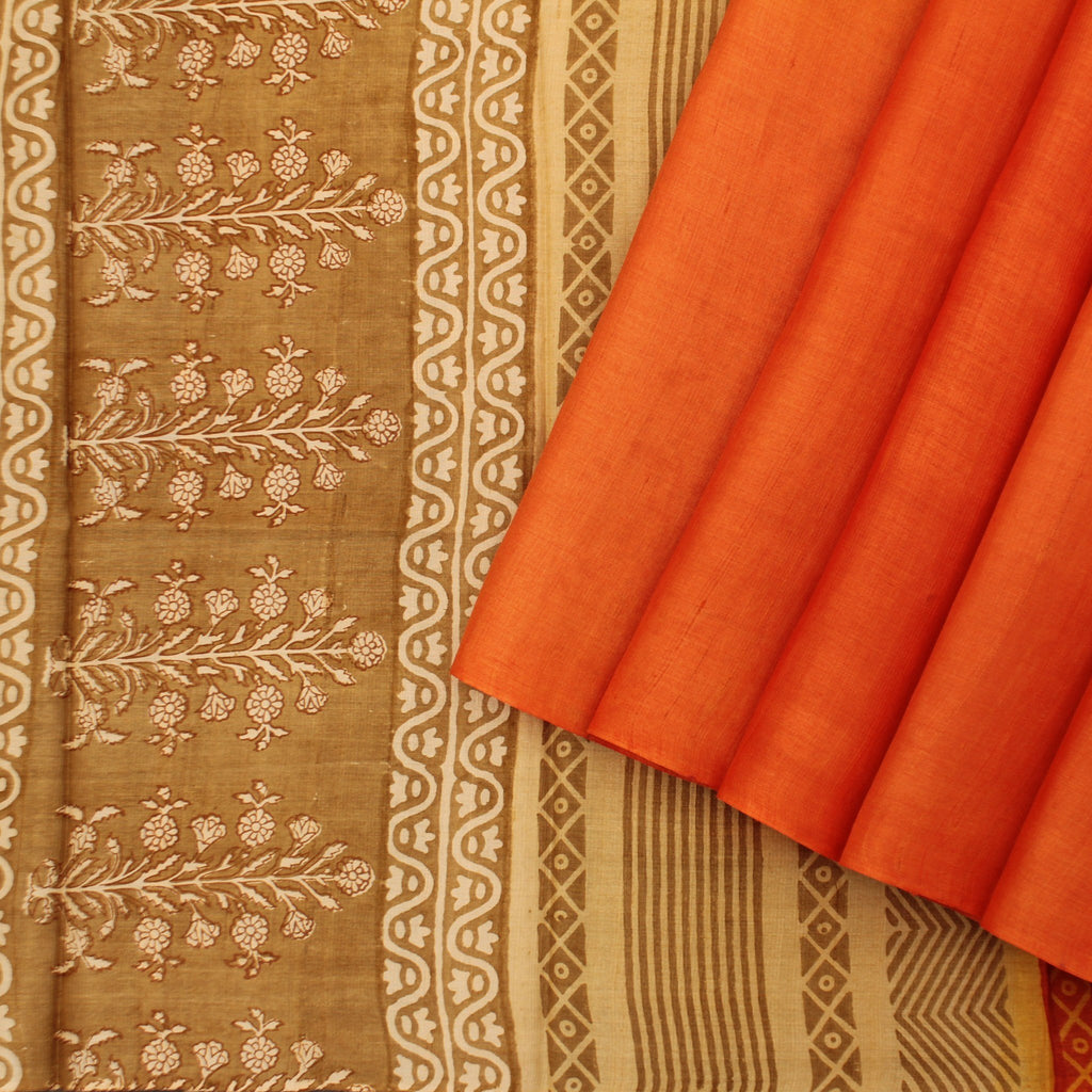 Orange-Printed-Tussar-Handloom-Saree