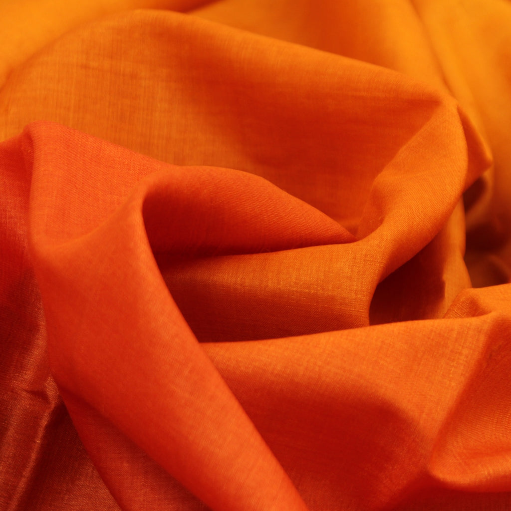 Orange Printed Tussar Handloom Saree