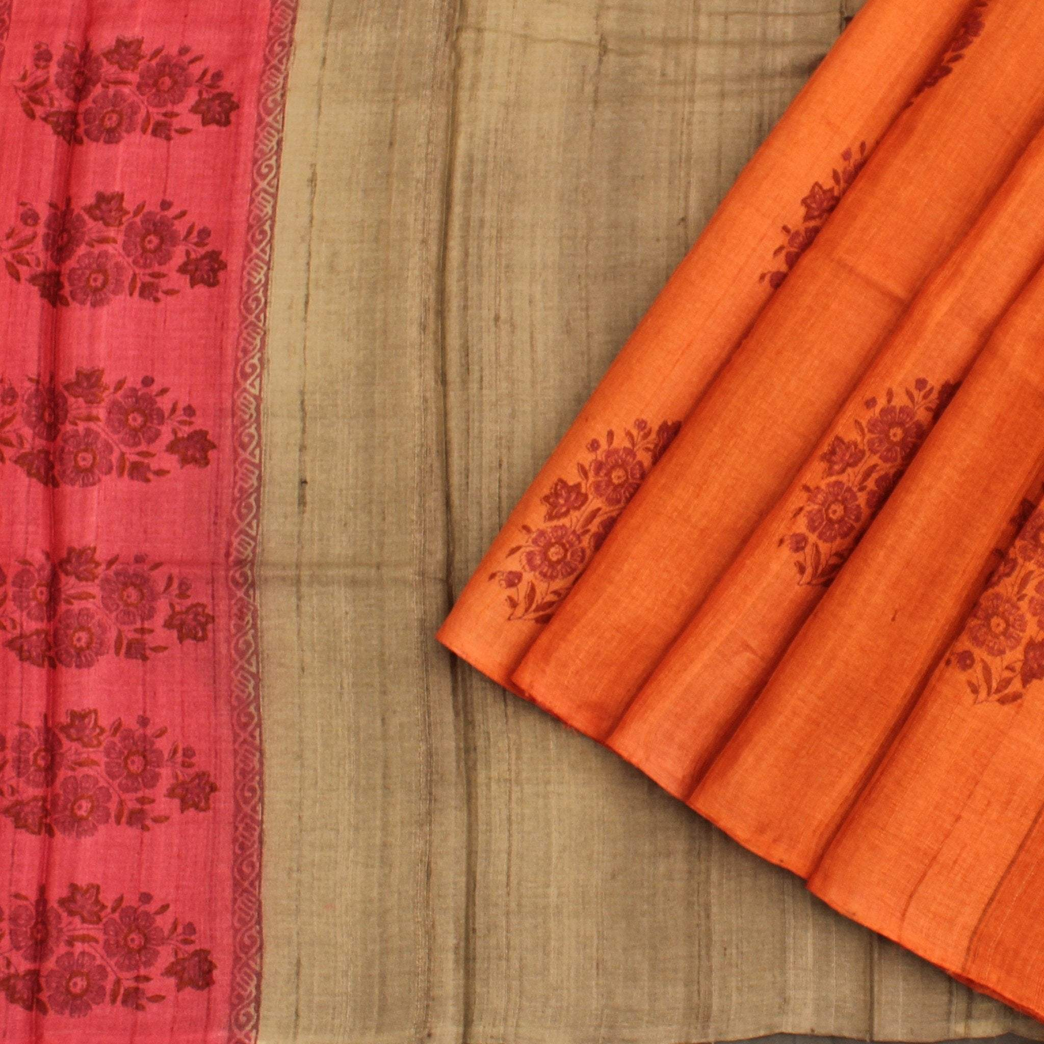 Rust-Orange-and-Pale-Grey-Tussar-Handloom-Printed-Saree