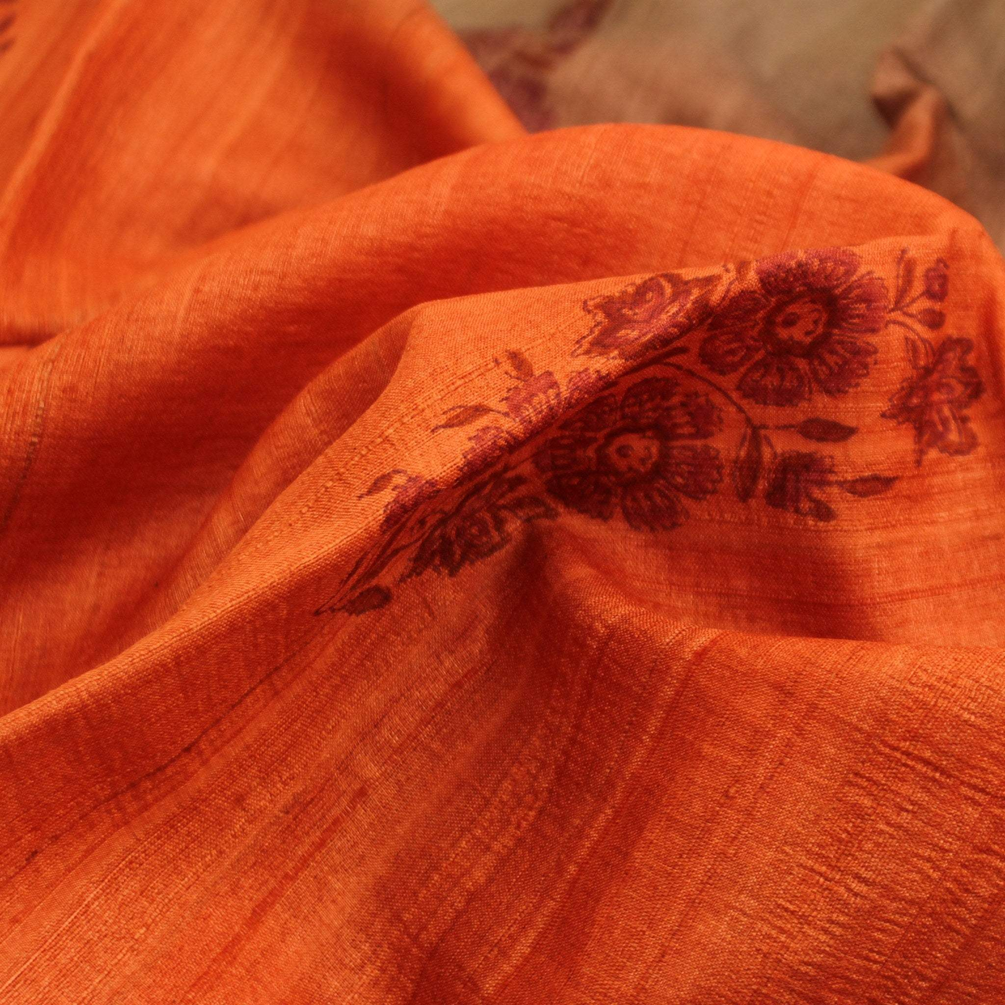 BB096354-Rust Orange and Pale Grey Tussar Handloom Printed Saree