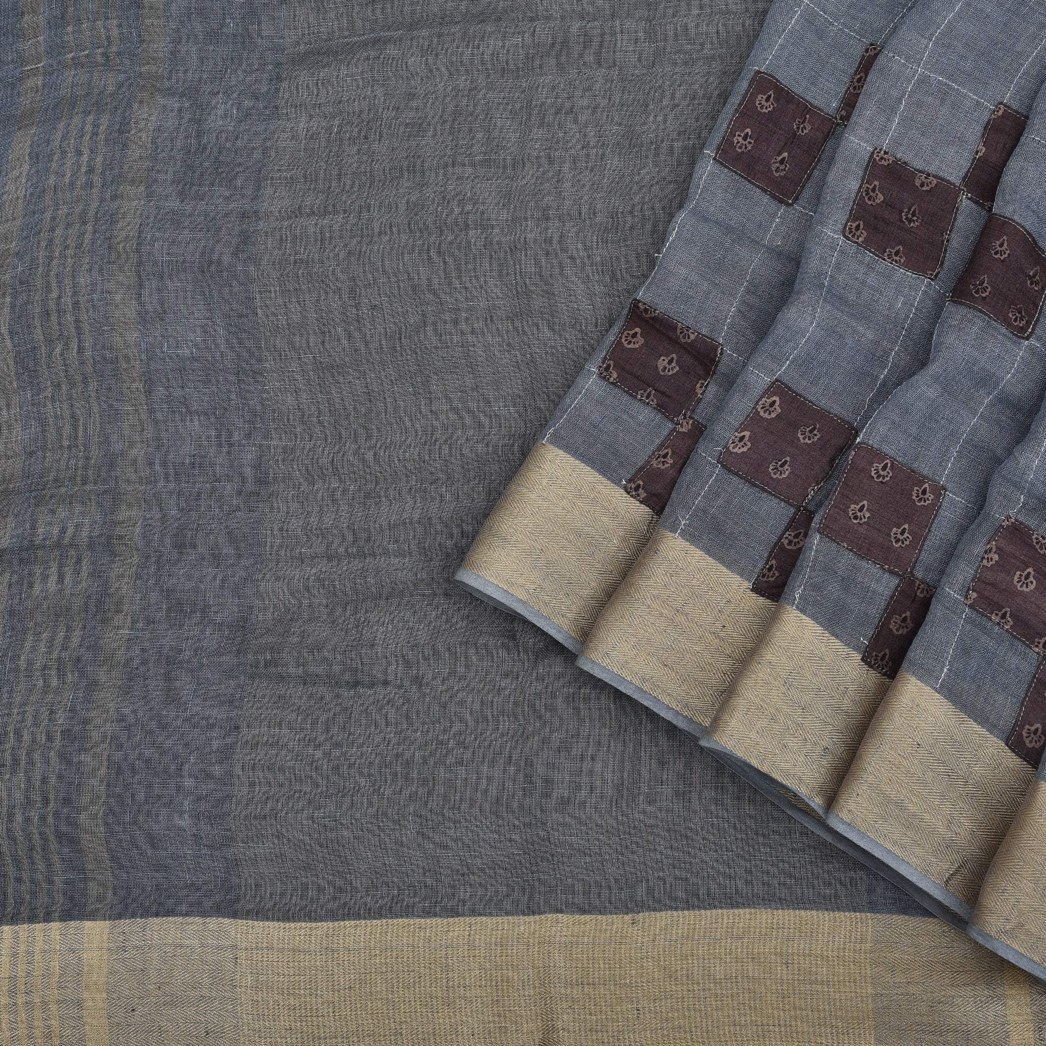 Steel Grey Handloom Linen Applique Embroidered Saree