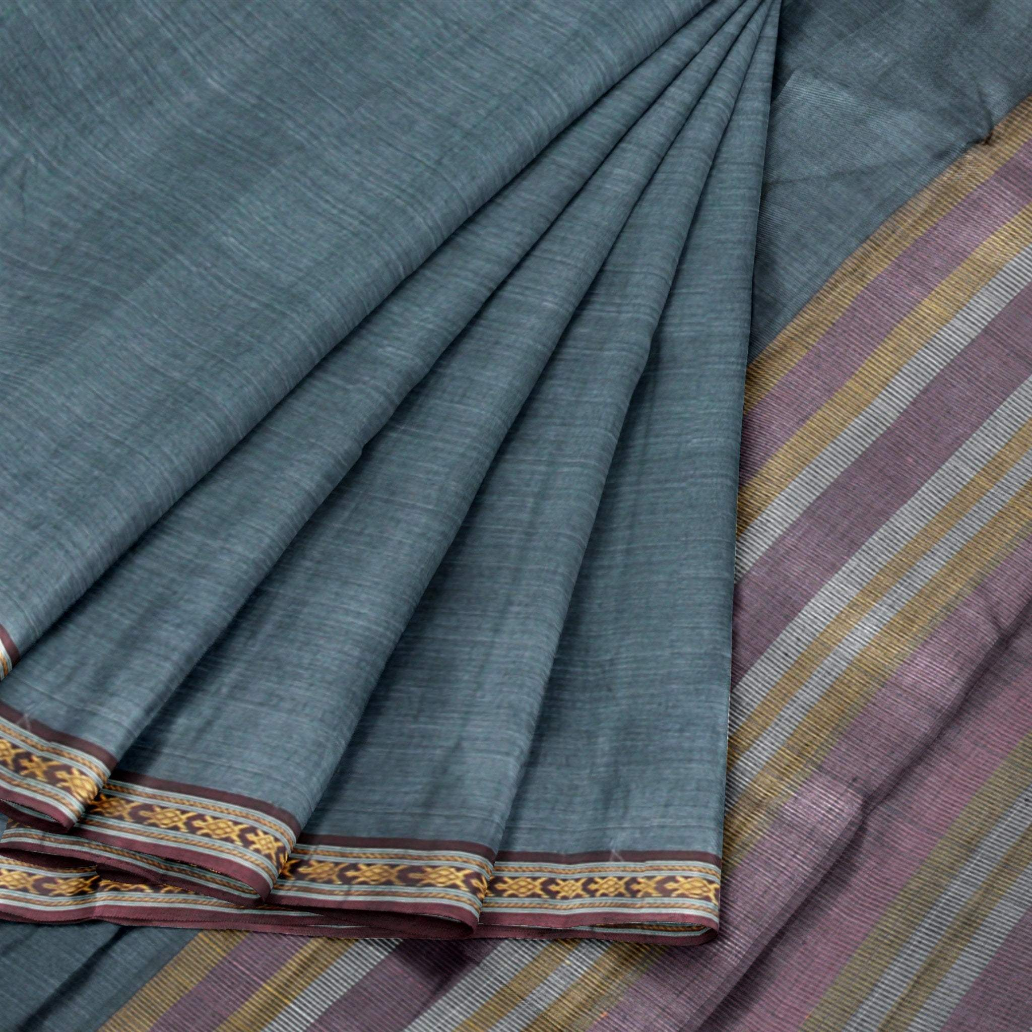 BB100032-Handloom Cotton Saree in Pine Green