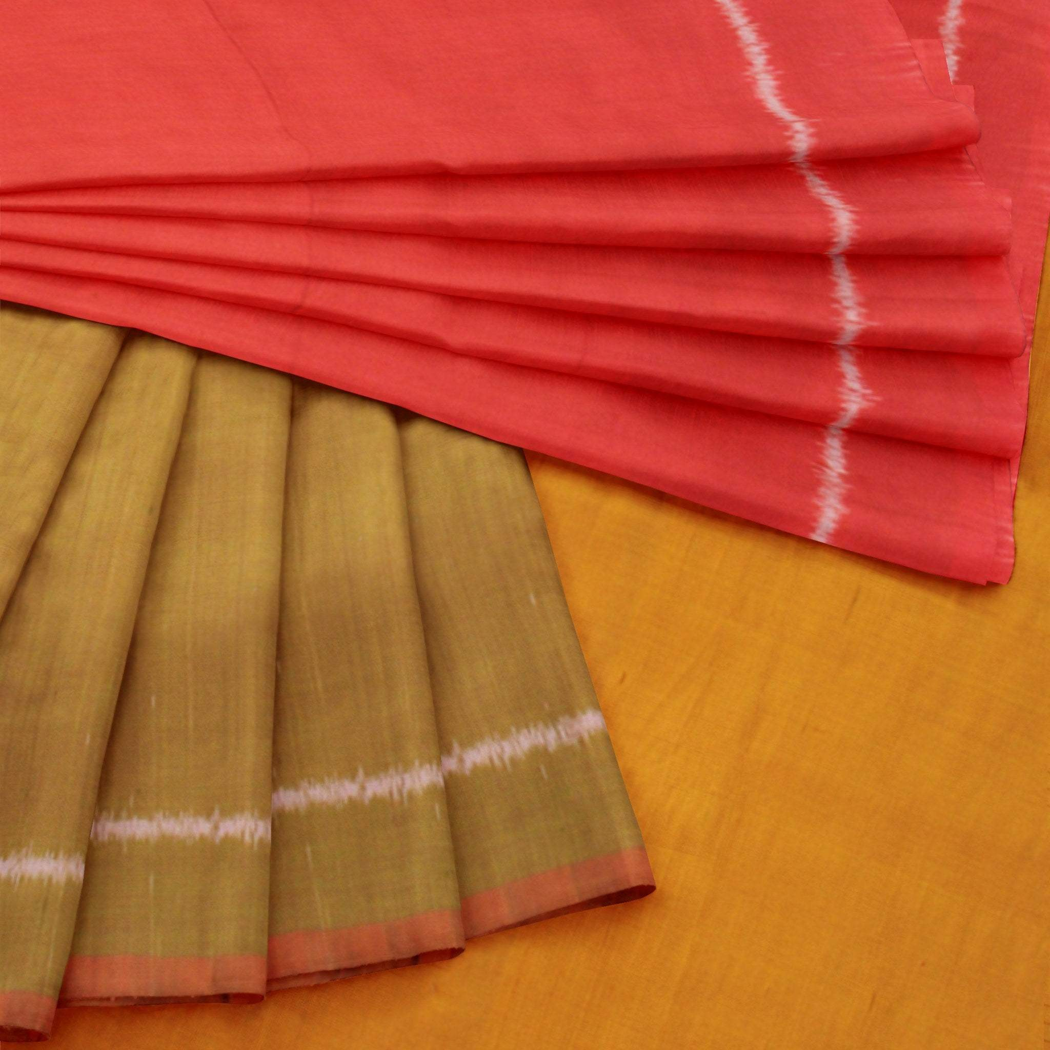 BB100033-Flaxen Yellow and Bright Red Ikkat Silk Saree