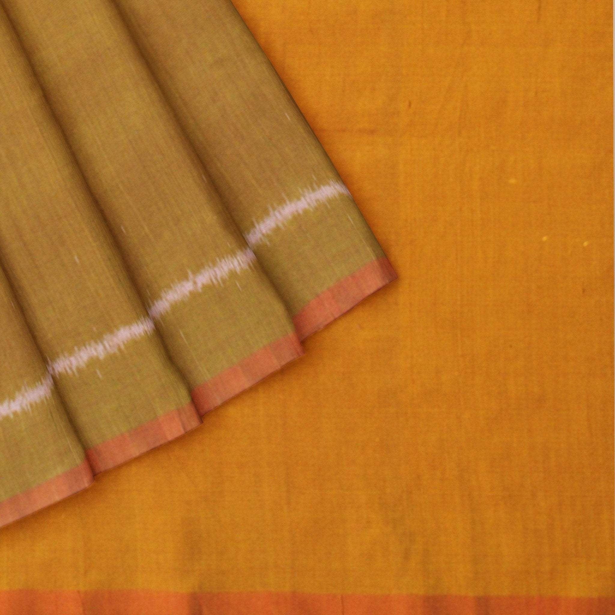 Flaxen-Yellow-and-Bright-Red-Ikkat-Silk-Saree