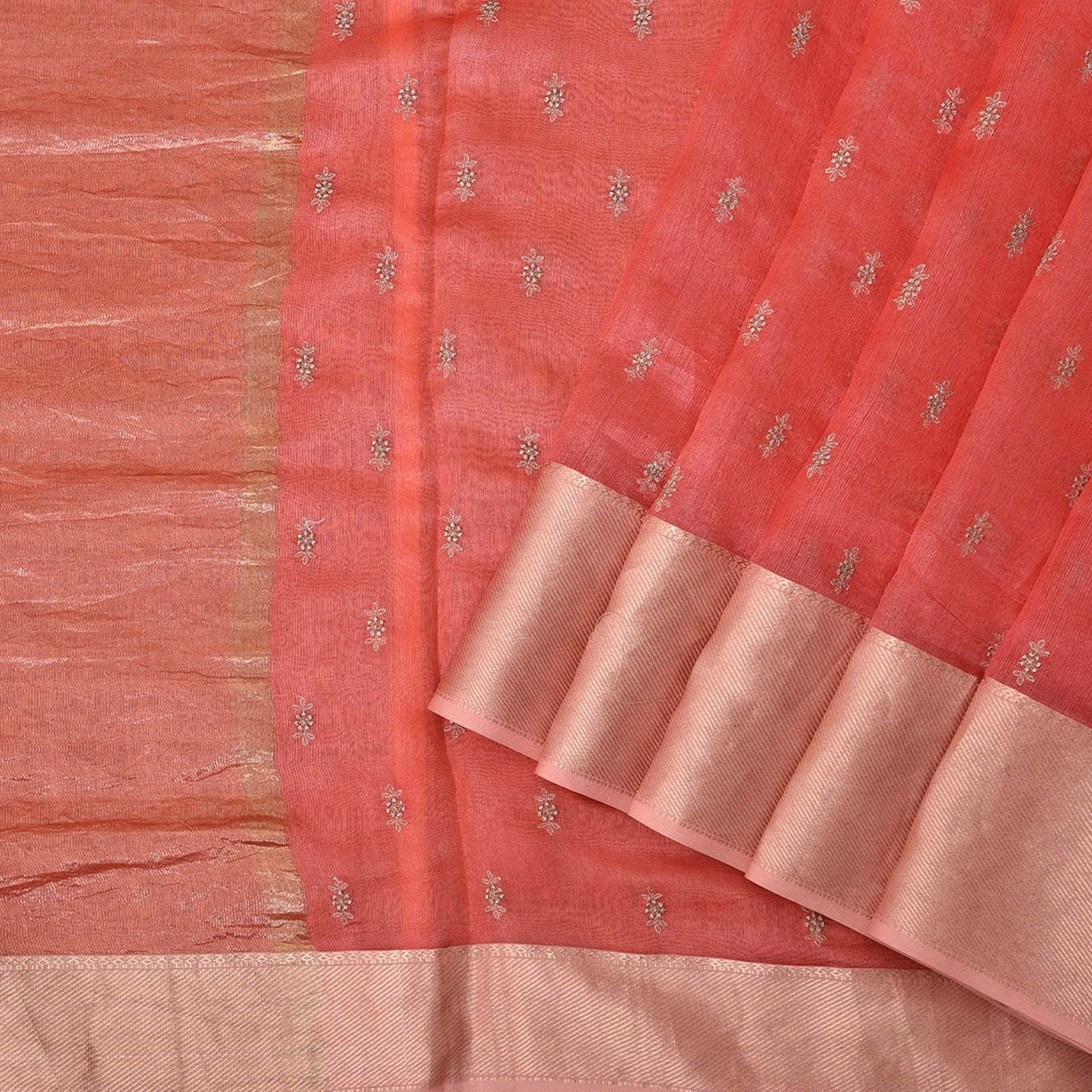 Neon-Orange-Embroidered-Chanderi-Handloom-Saree