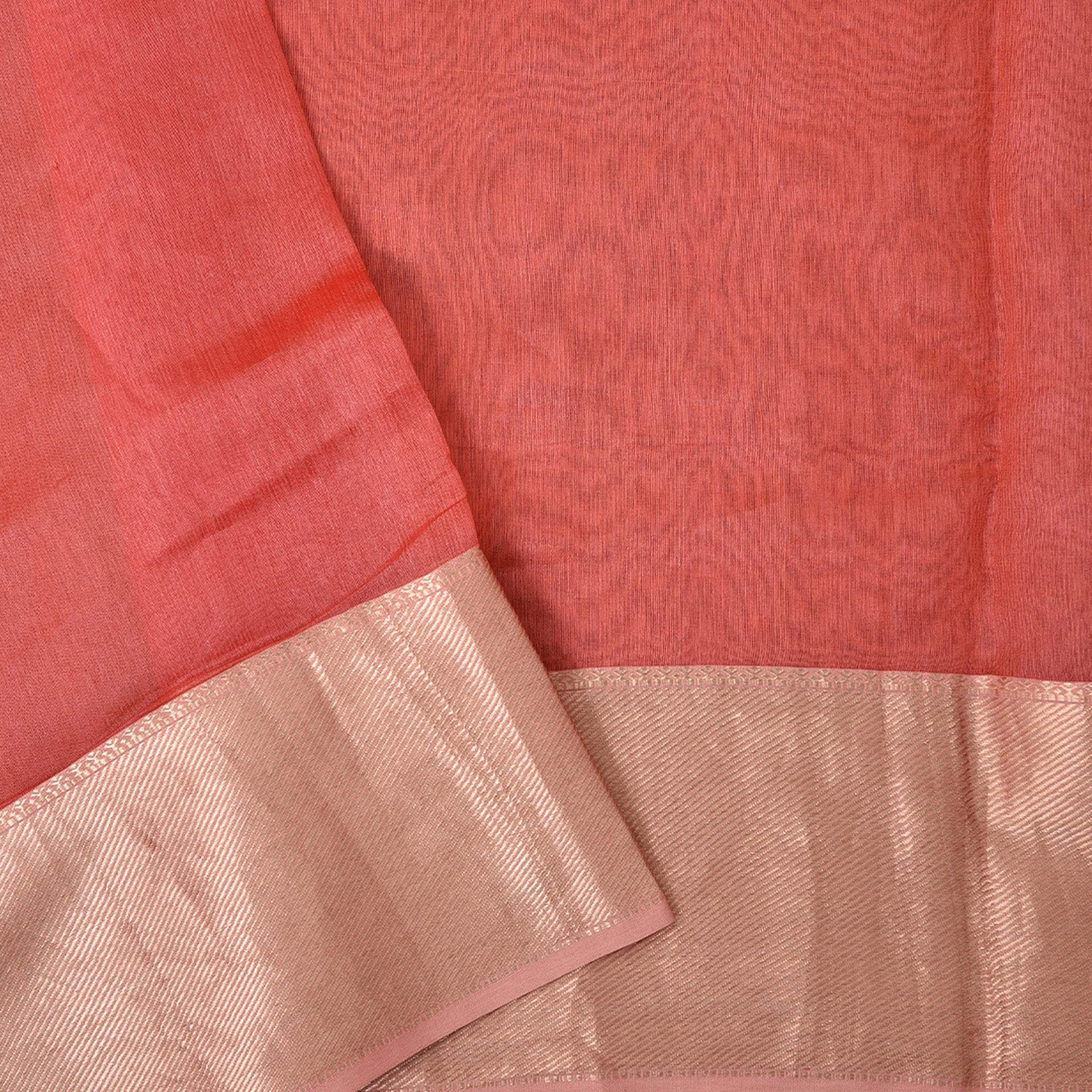 BB100463-Neon Orange Embroidered Chanderi Handloom Saree