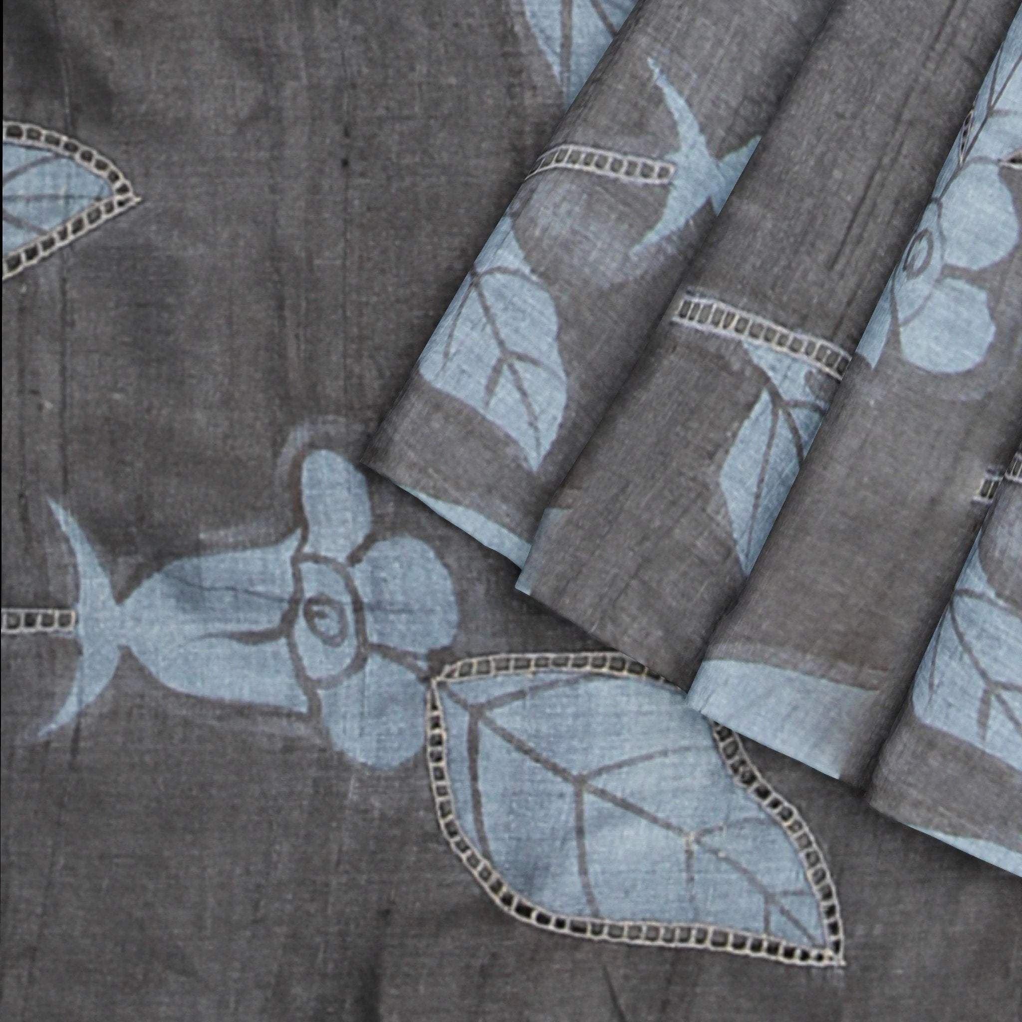 Slate-Black-Grey-Printed-Tussar-Saree-with-Cutwork