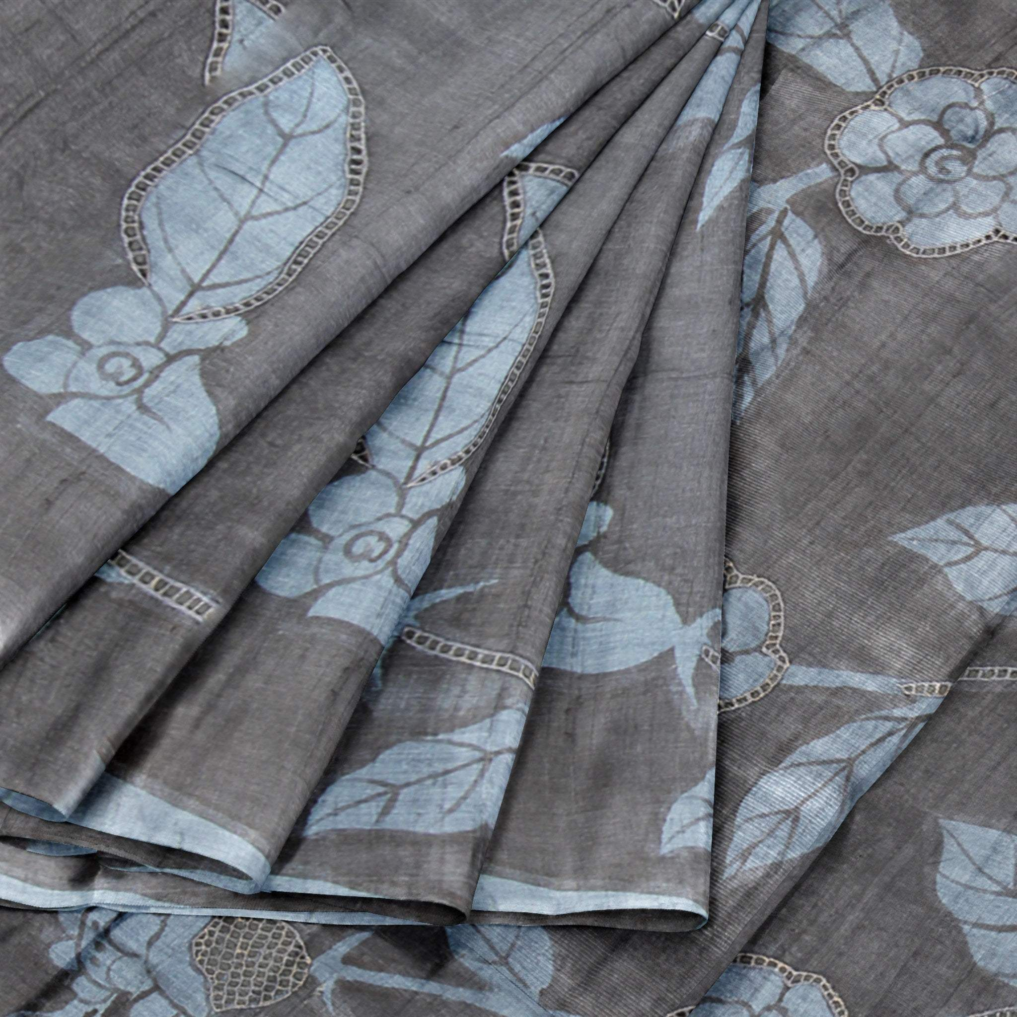 BB100801-Slate Black and Steel Grey Printed Tussar Saree with Cutwork
