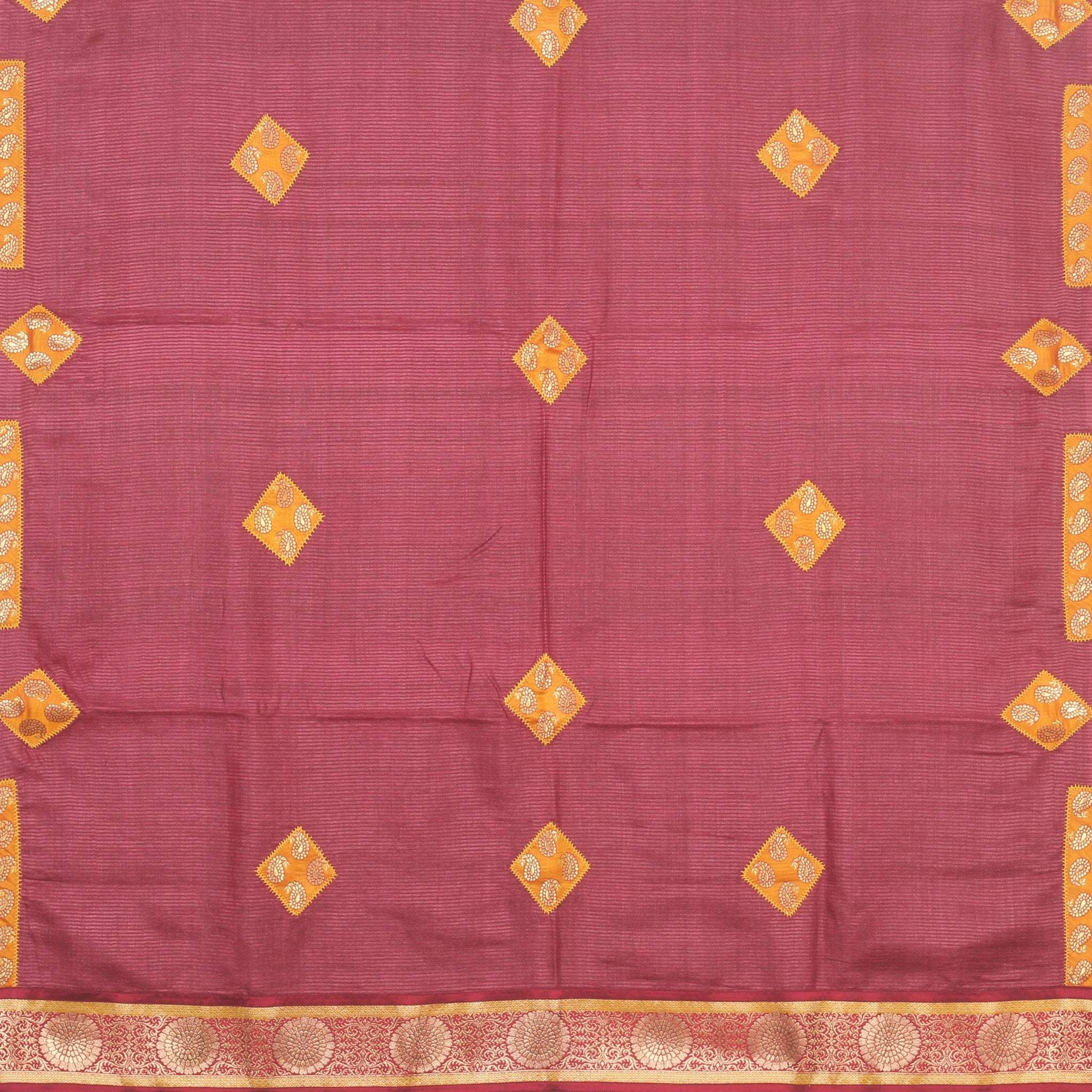 BB100816-Maroon Self-lined Tussar Silk Saree