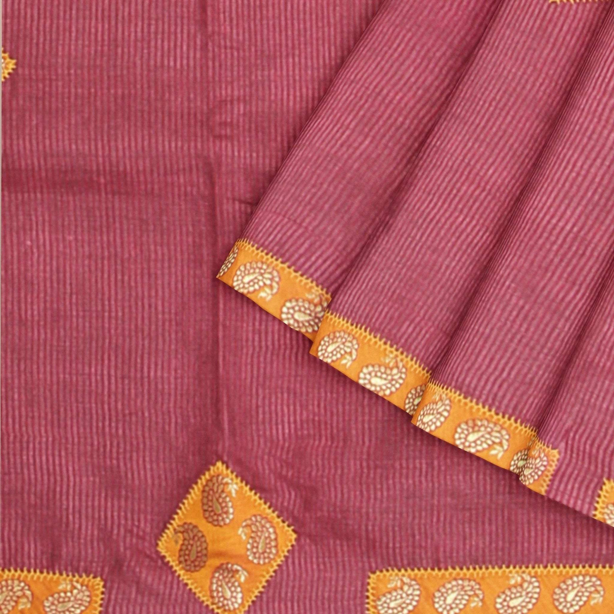 Maroon-Self-lined-Tussar-Silk-Saree