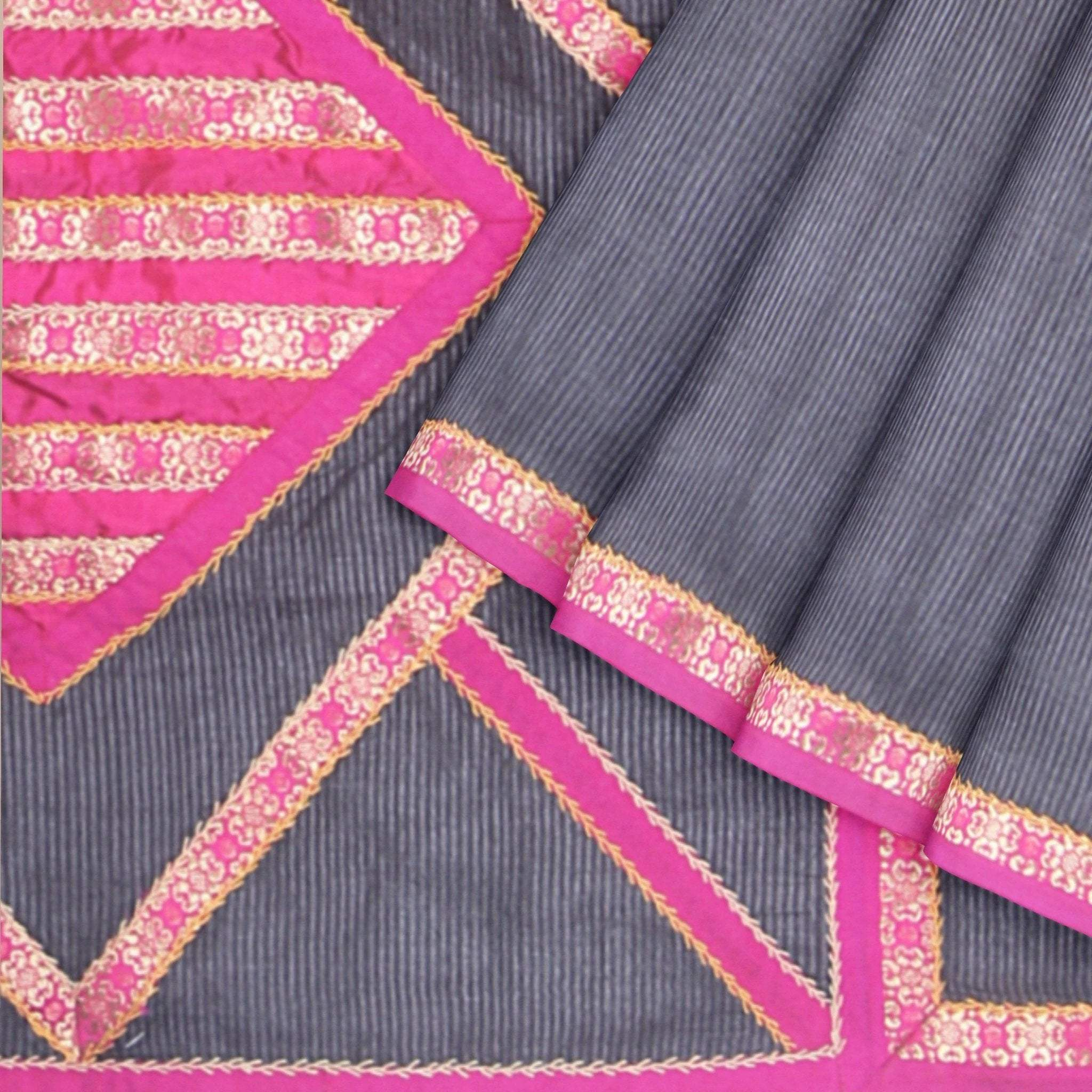 Jet-Black-Self-lined-Tussar-Silk-Saree-with-Brocade-Patchwork