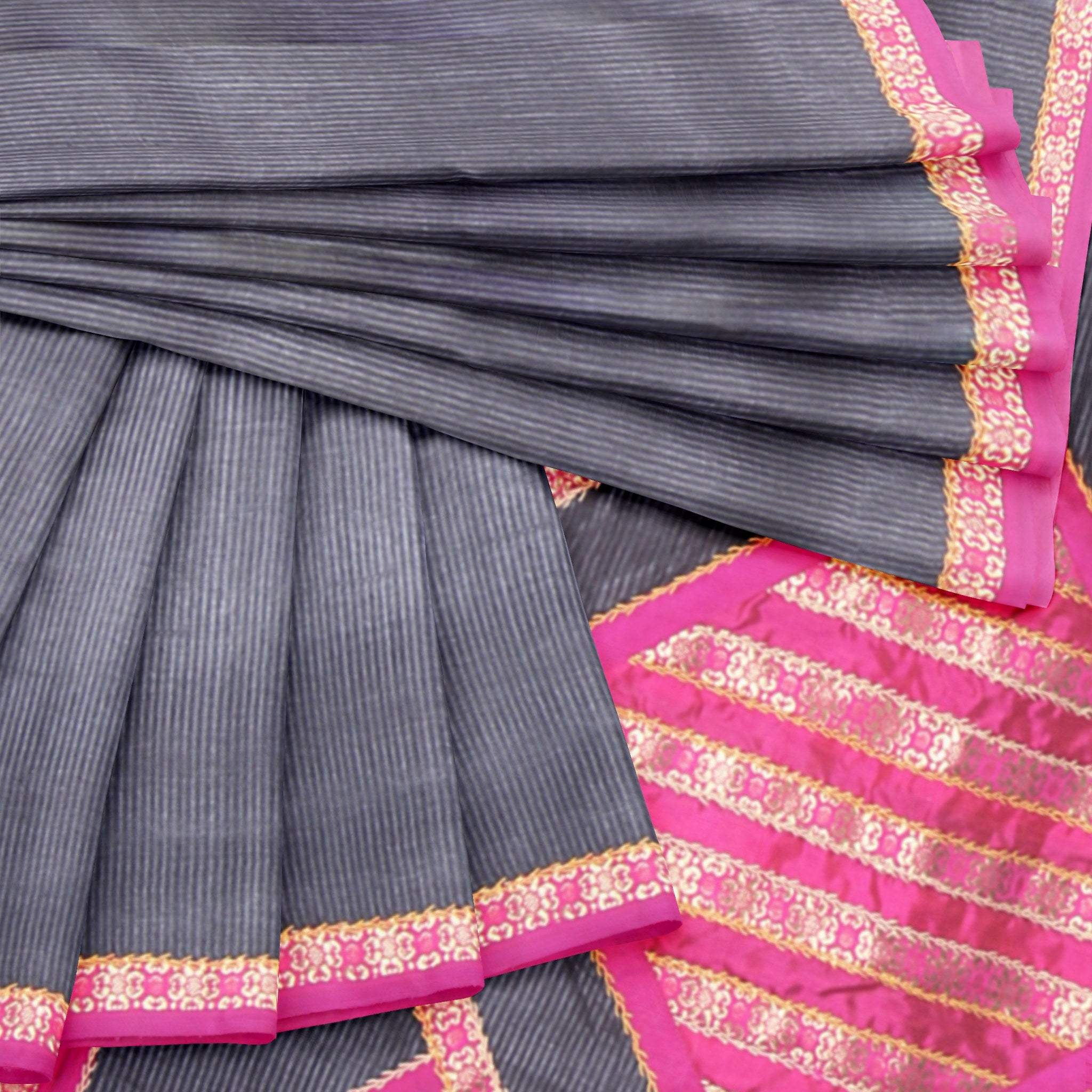 BB100825-Jet-Black Self-lined Tussar Silk Saree with Brocade Patchwork