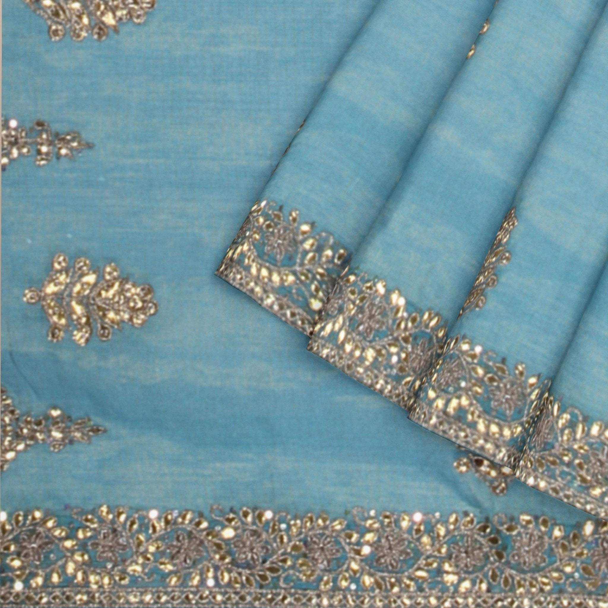 Carolina-Blue-Tissue-Kota-Saree-with-Gota-Work-and-Piping