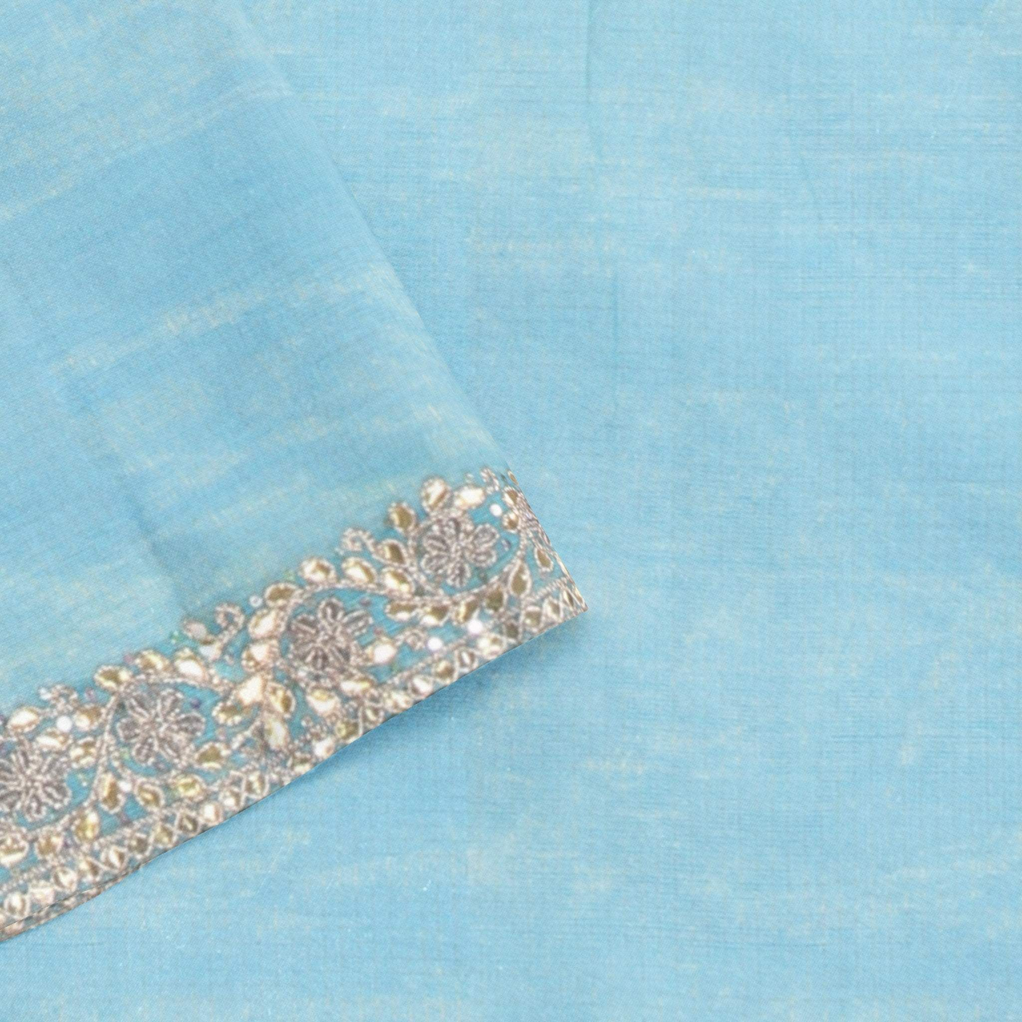 BB100828-Carolina Blue Tissue Kota Saree with Gota Work and Piping
