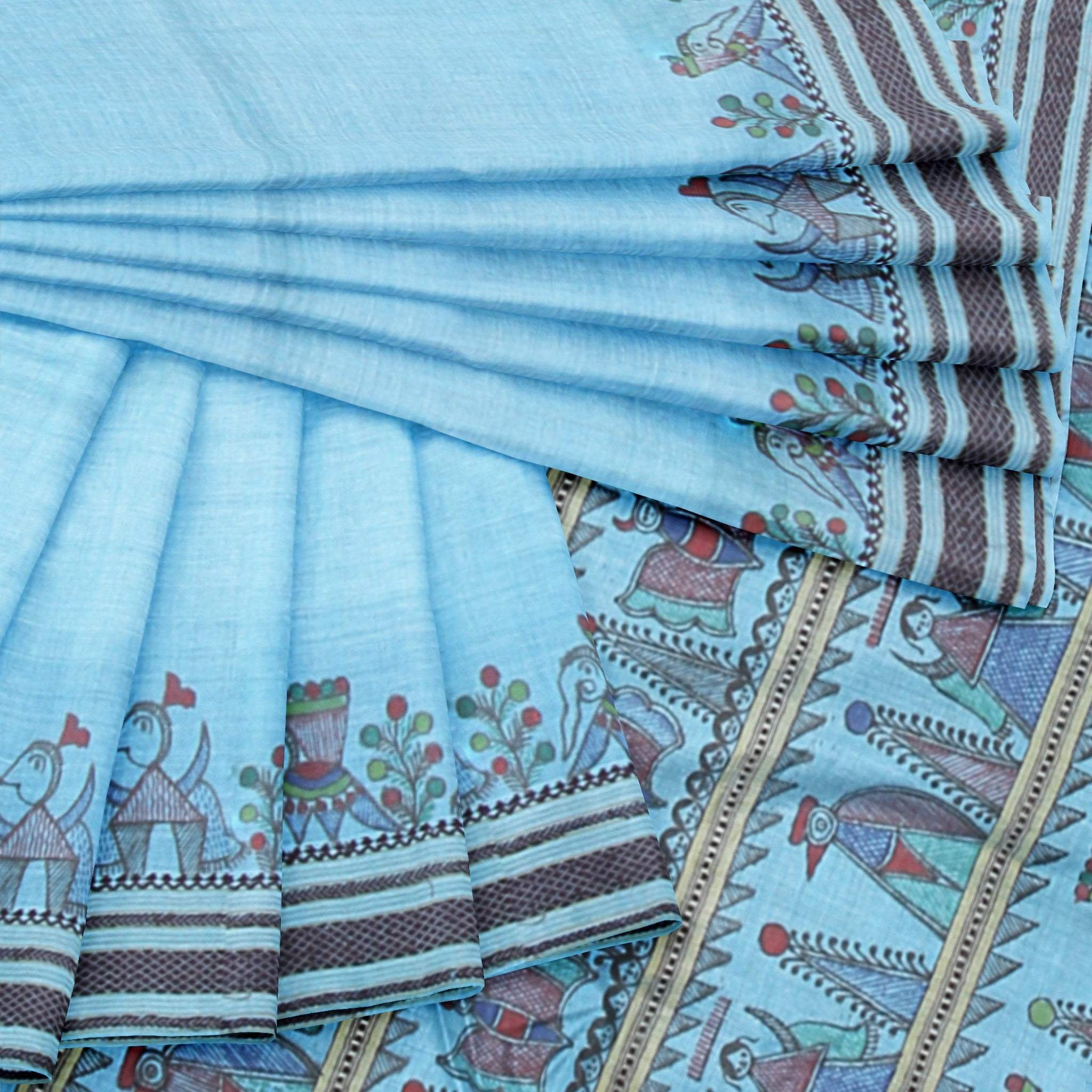 BB100829-Baby-Blue Tussar Silk Saree with Handpainted Madhubani