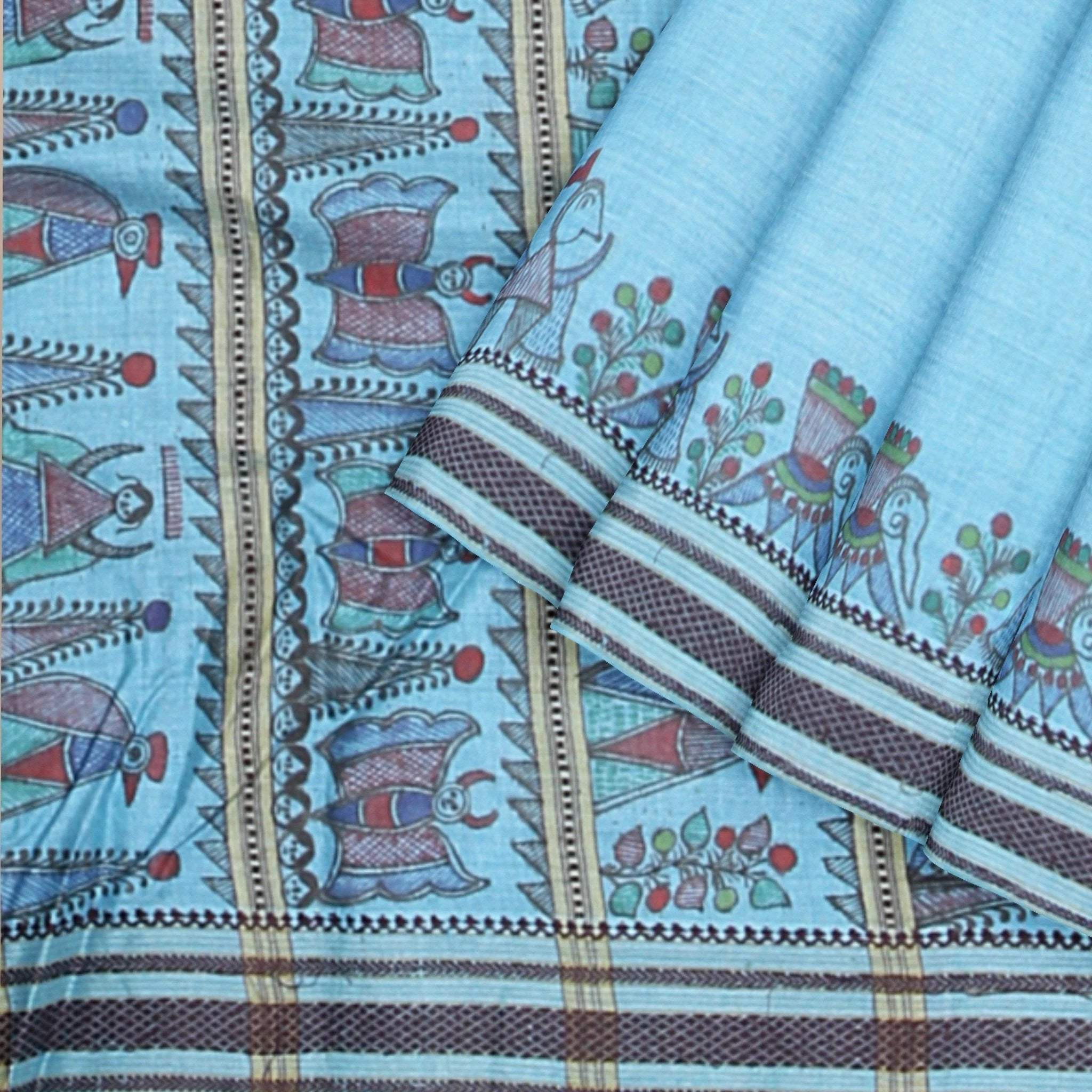 Baby-Blue-Tussar-Silk-Saree-with-Handpainted-Madhubani