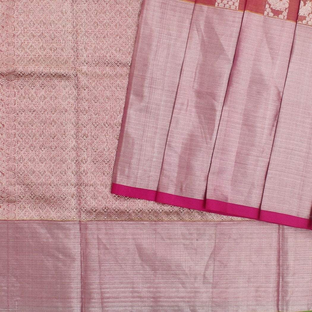 Dual-Toned-Punch-Pink-And-Gold-Venkatagiri-Tissue-Silk-handloom-Saree-With-Jaal-Design