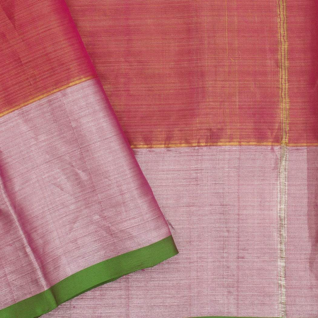 BB100878-Dual Toned Punch Pink And Gold Venkatagiri Tissue Silk handloom Saree With Jaal Design