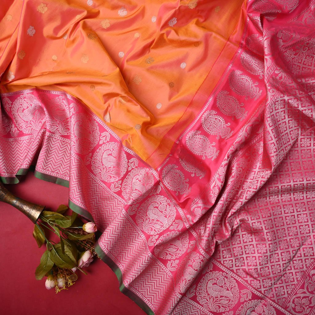 Buy Dual Toned Orange Gadwal Silk Handloom Saree