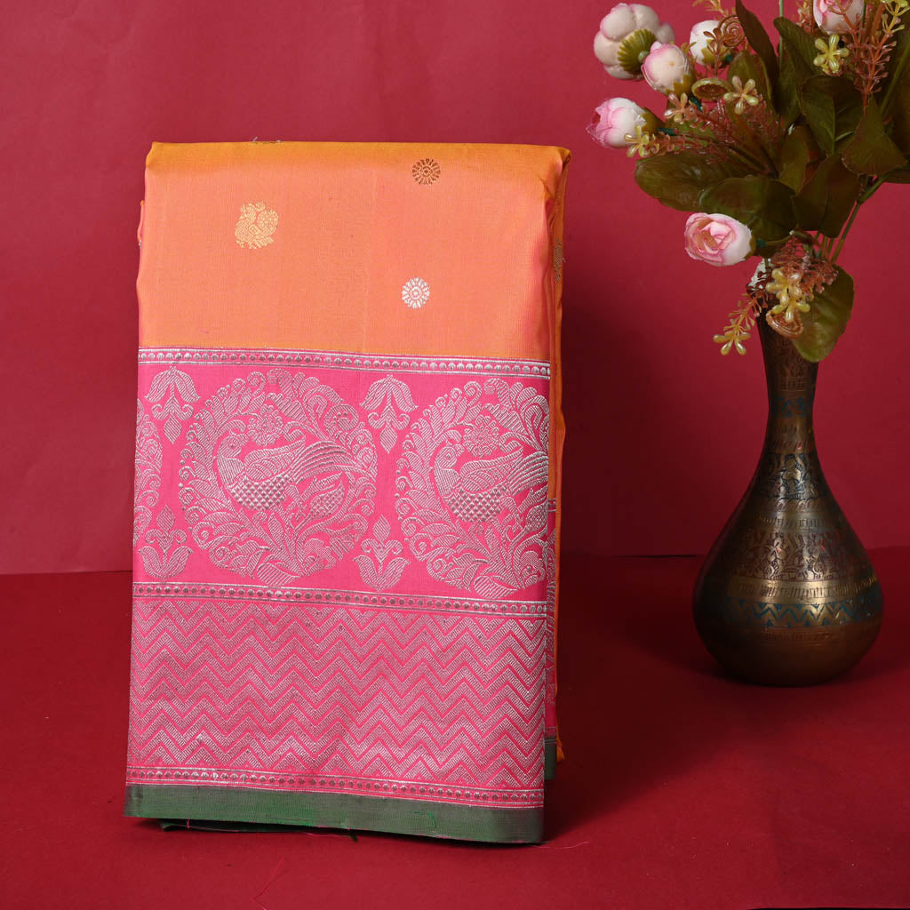 100966-Dual Toned Orange Gadwal Silk Handloom Saree