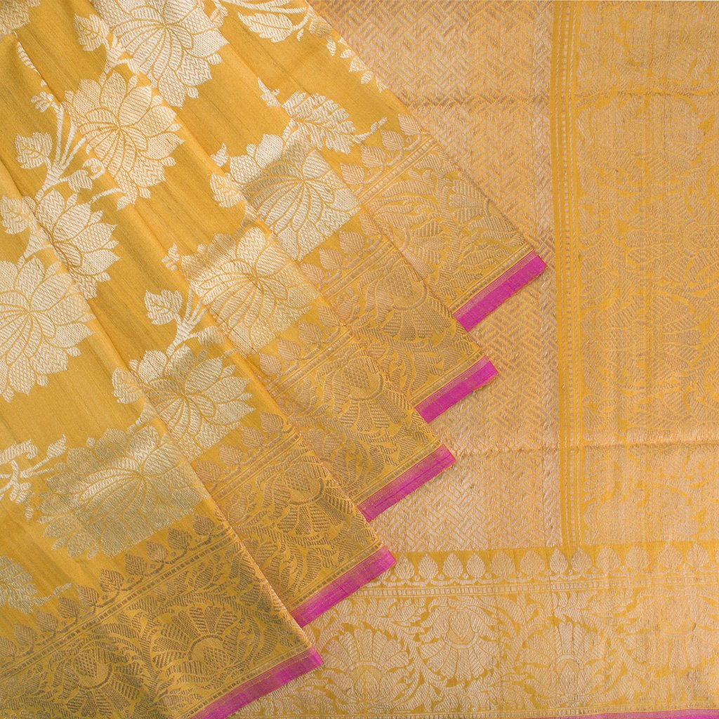 buy Fiery Yellow Banarasi Tussar Handloom Saree Online