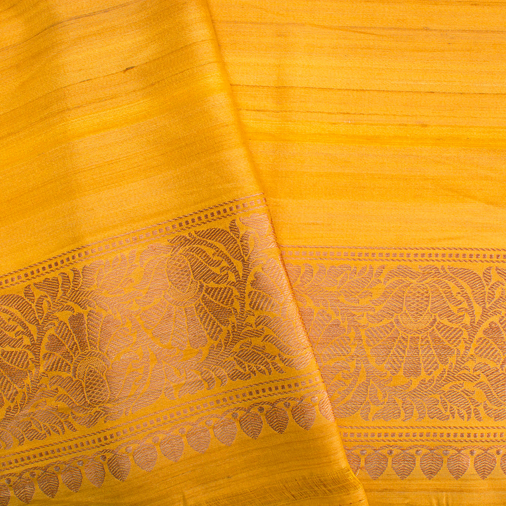 BB101515-Fiery Yellow Banarasi Tussar Handloom Saree