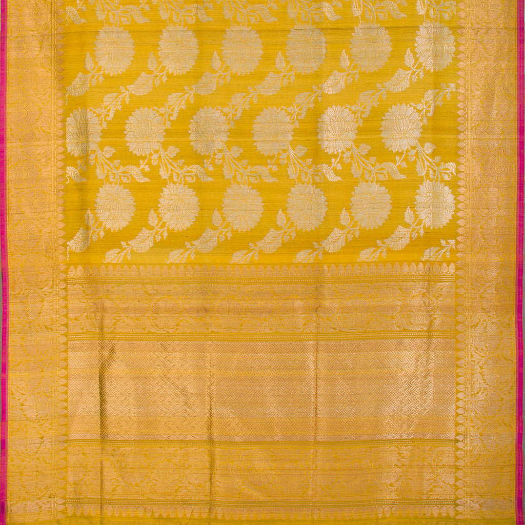 Fiery Yellow Banarasi Tussar Handloom Saree With Floral Jaal-242007