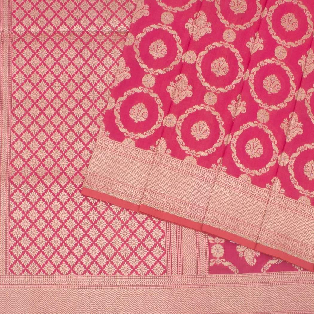 Punch-Pink-Banarasi-Silk-Handloom-Saree-With-Jaal