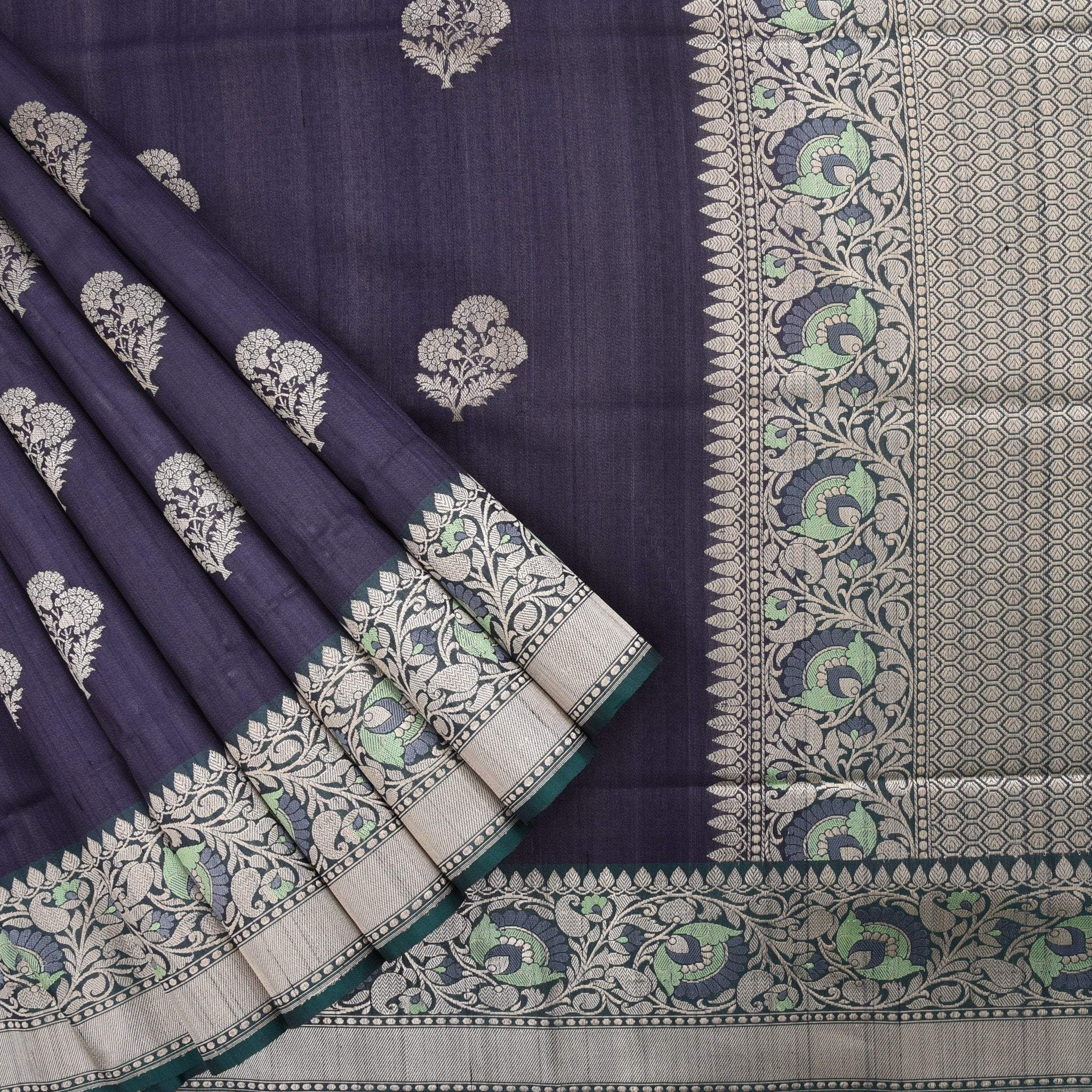 Navy-Blue-Banarasi-Tussar-Silk-Handloom-Saree
