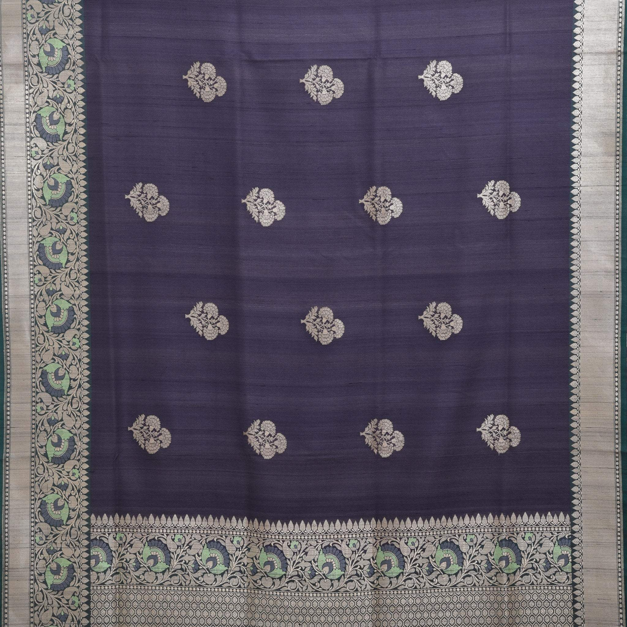 BB101558-Navy Blue Banarasi Tussar Silk Handloom Saree