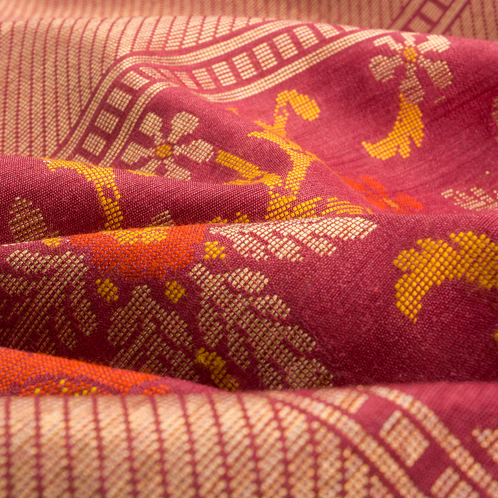Wine Red Banarasi Tussar Handloom Saree