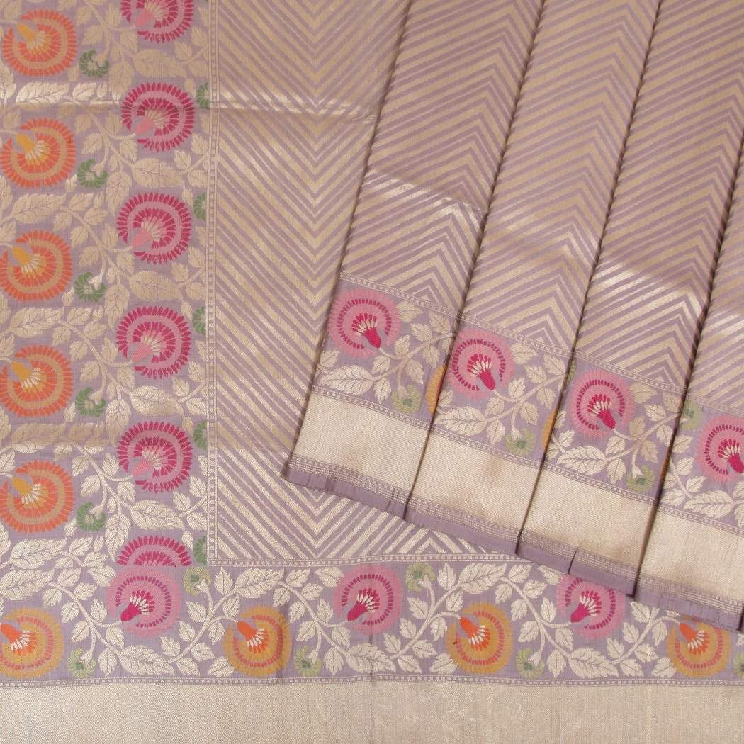Dusky-Lilac-Banarasi-Silk-Handloom-Saree-With-Stripes