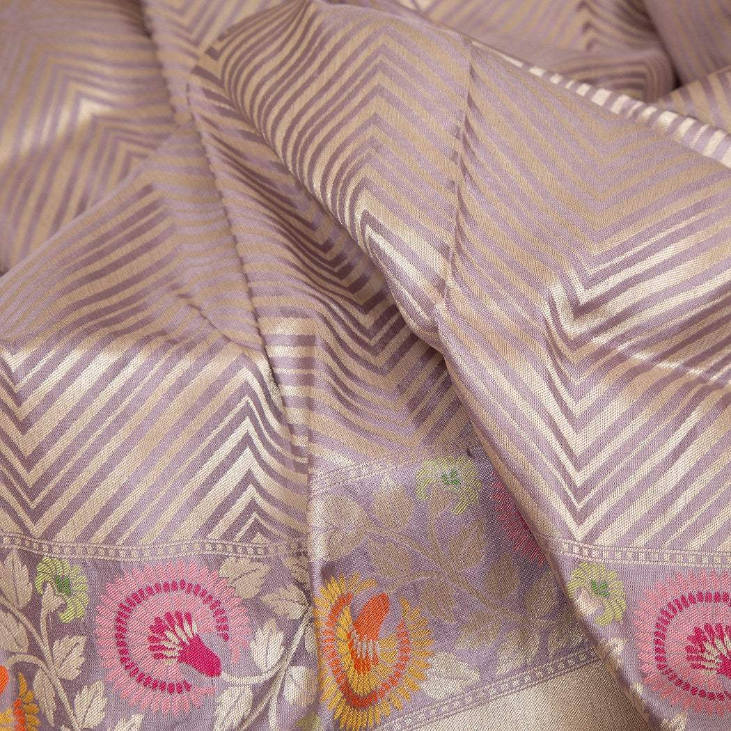 BB101617-Dusky Lilac Banarasi Silk Handloom Saree With Stripes
