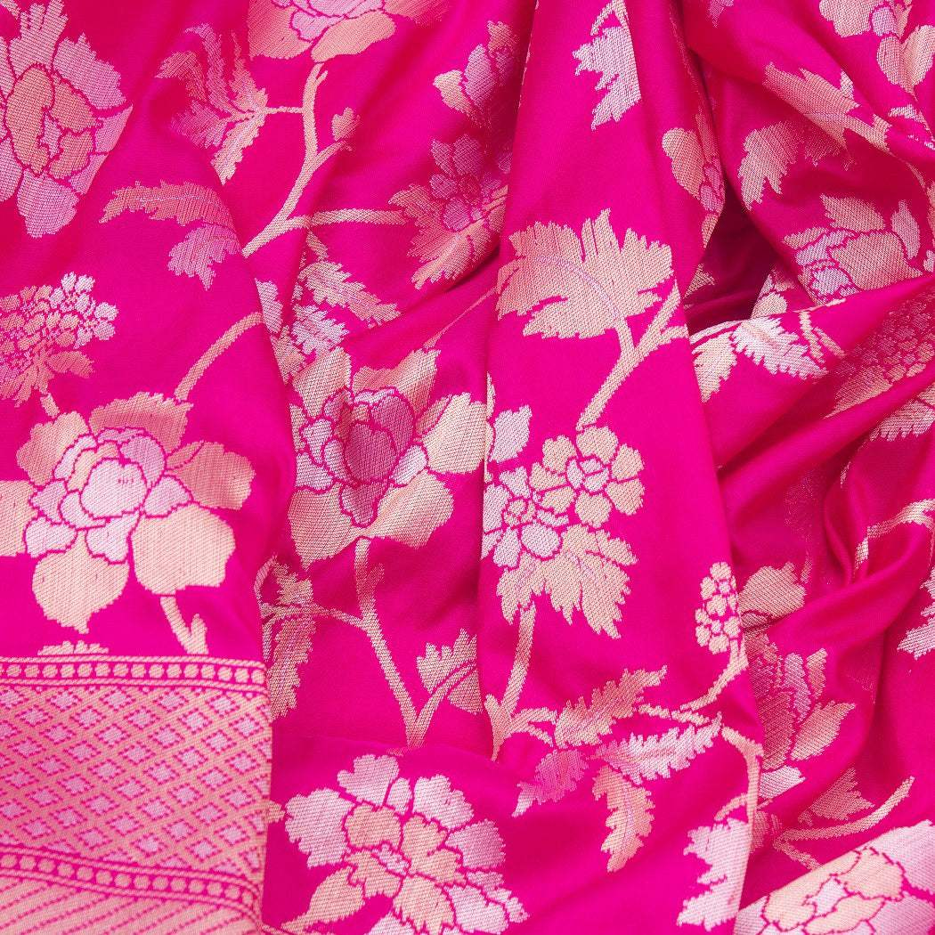 BB101619-Rogue Pink Banarasi Silk Handloom Saree With Floral Jaal