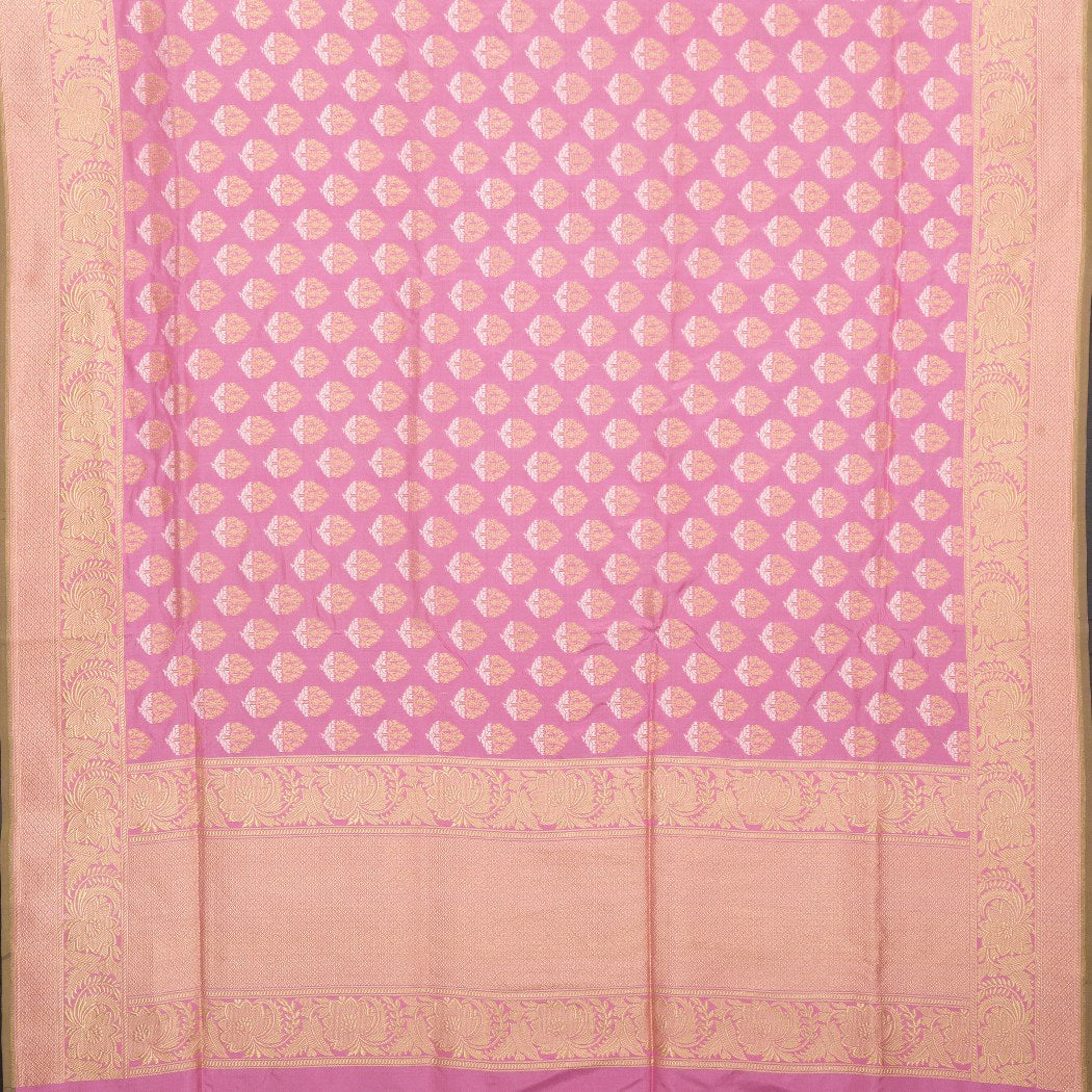 BB101622-Rose Pink Banarasi Silk Handloom Saree With Floral Motifs