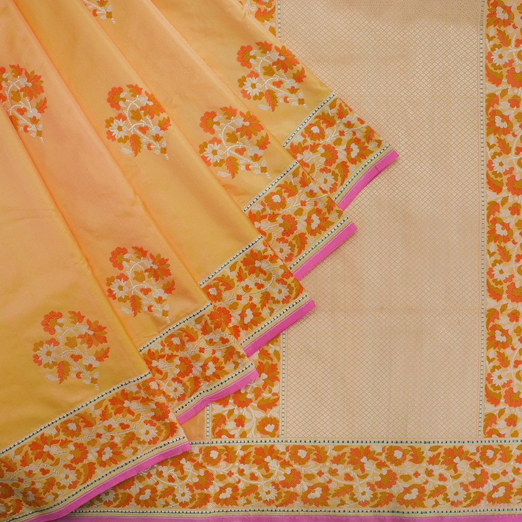 Light-Orange-Banarasi-Silk-Handloom-Saree