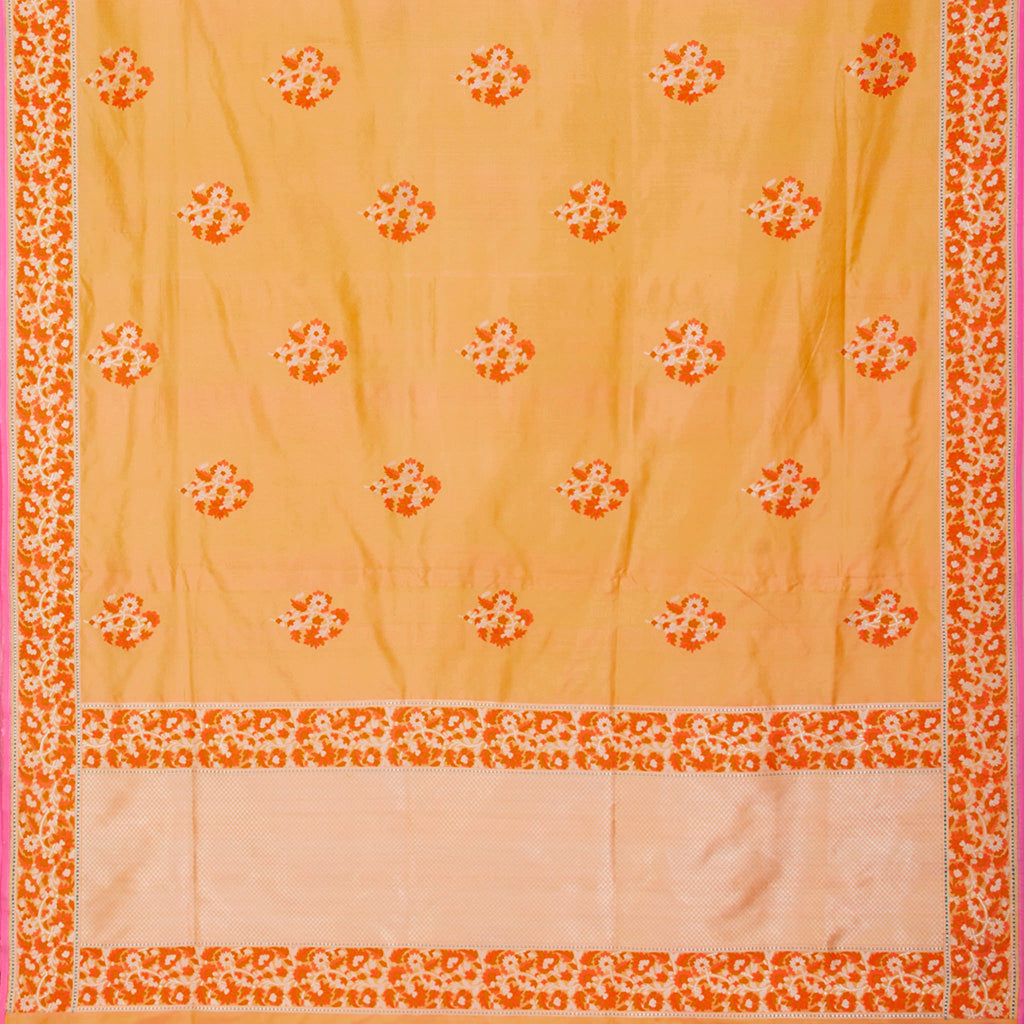 228099-Light Orange Banarasi Silk Handloom Saree