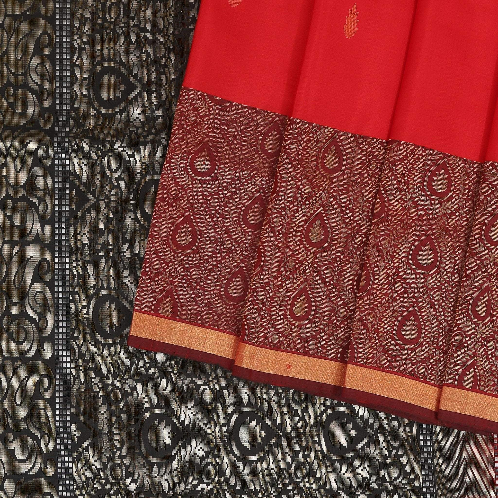 Crimson-Red-Soft-Silk-Saree-contrast-Black-zari-pallu.
