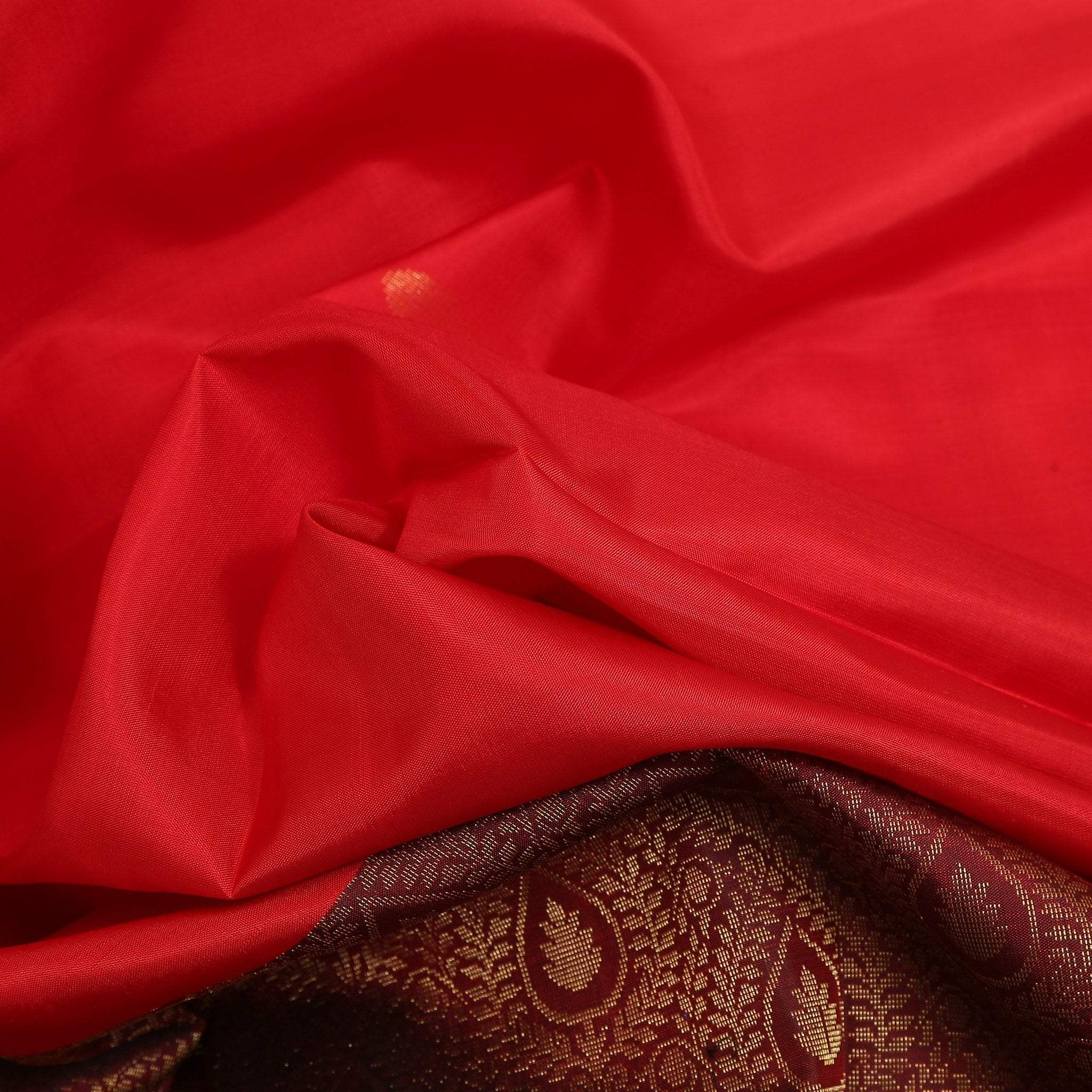 BB102595-Crimson Red Soft Silk Saree contrast Black zari pallu